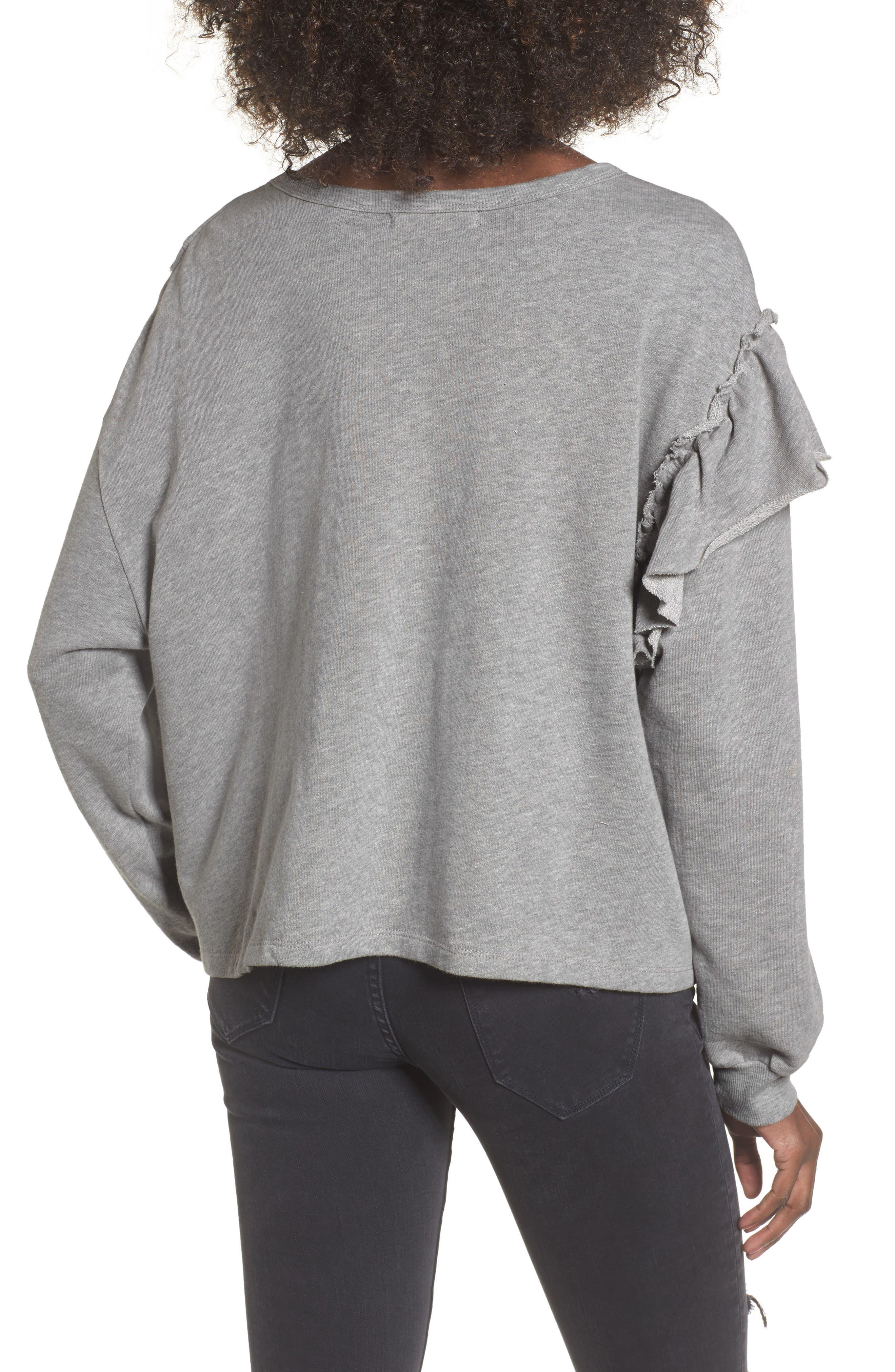 Asymmetric Ruffle Sweatshirt,                             Alternate thumbnail 2, color,                             Heather Grey