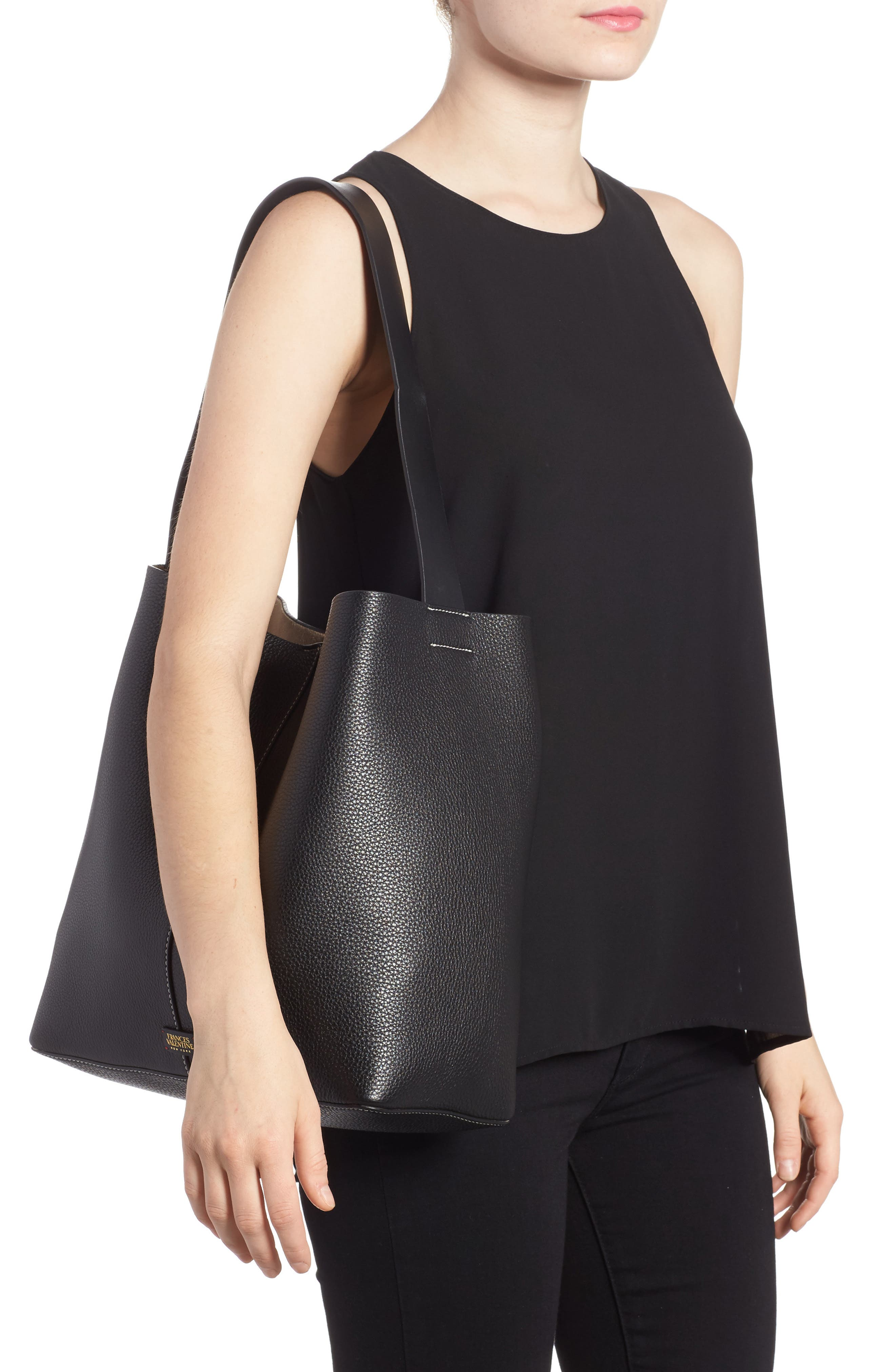 Large Leather Shoulder Bag,                             Alternate thumbnail 2, color,                             Black