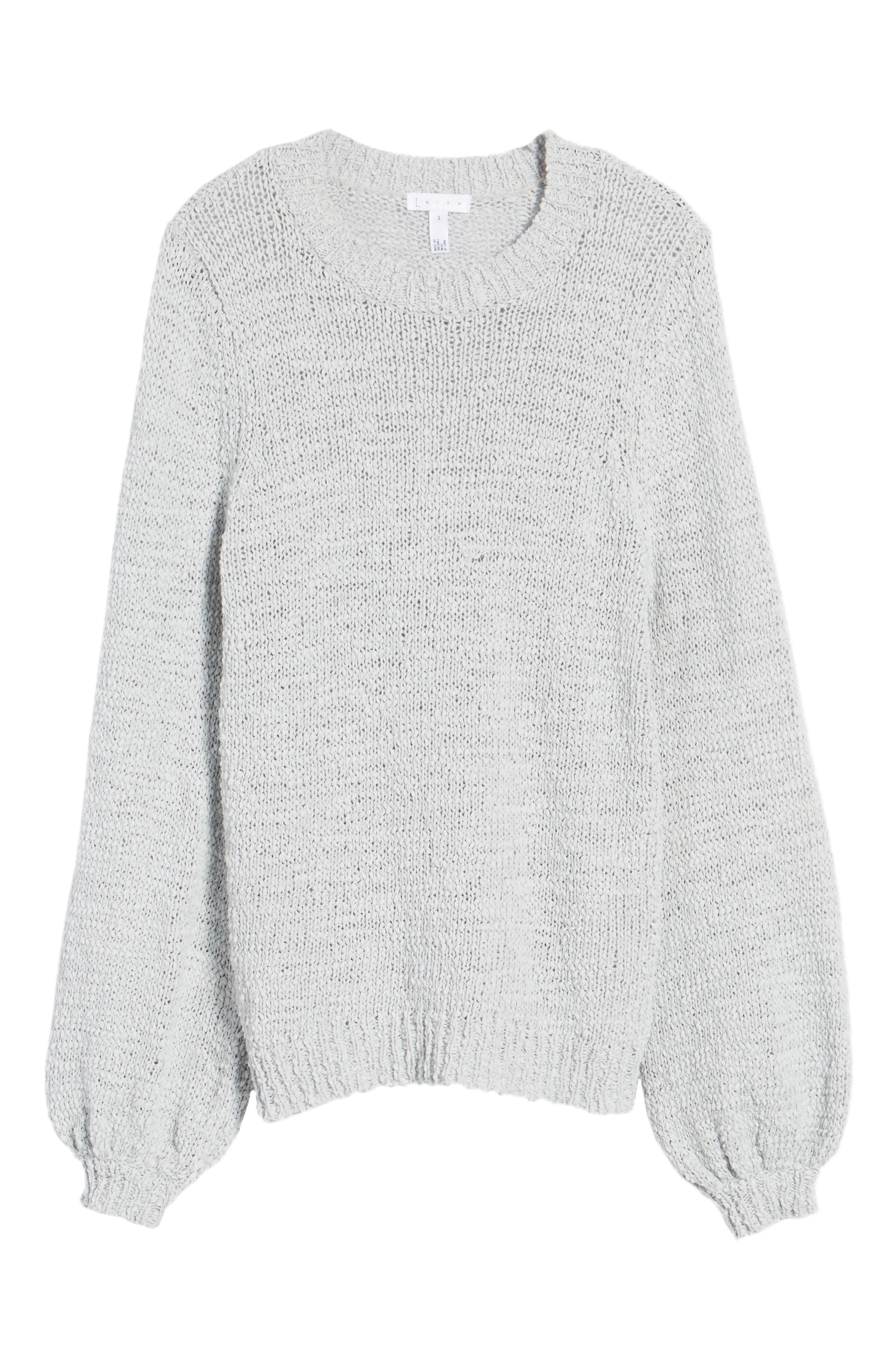 Blouson Sleeve Tape Yarn Sweater,                             Alternate thumbnail 6, color,                             Blue Pearl