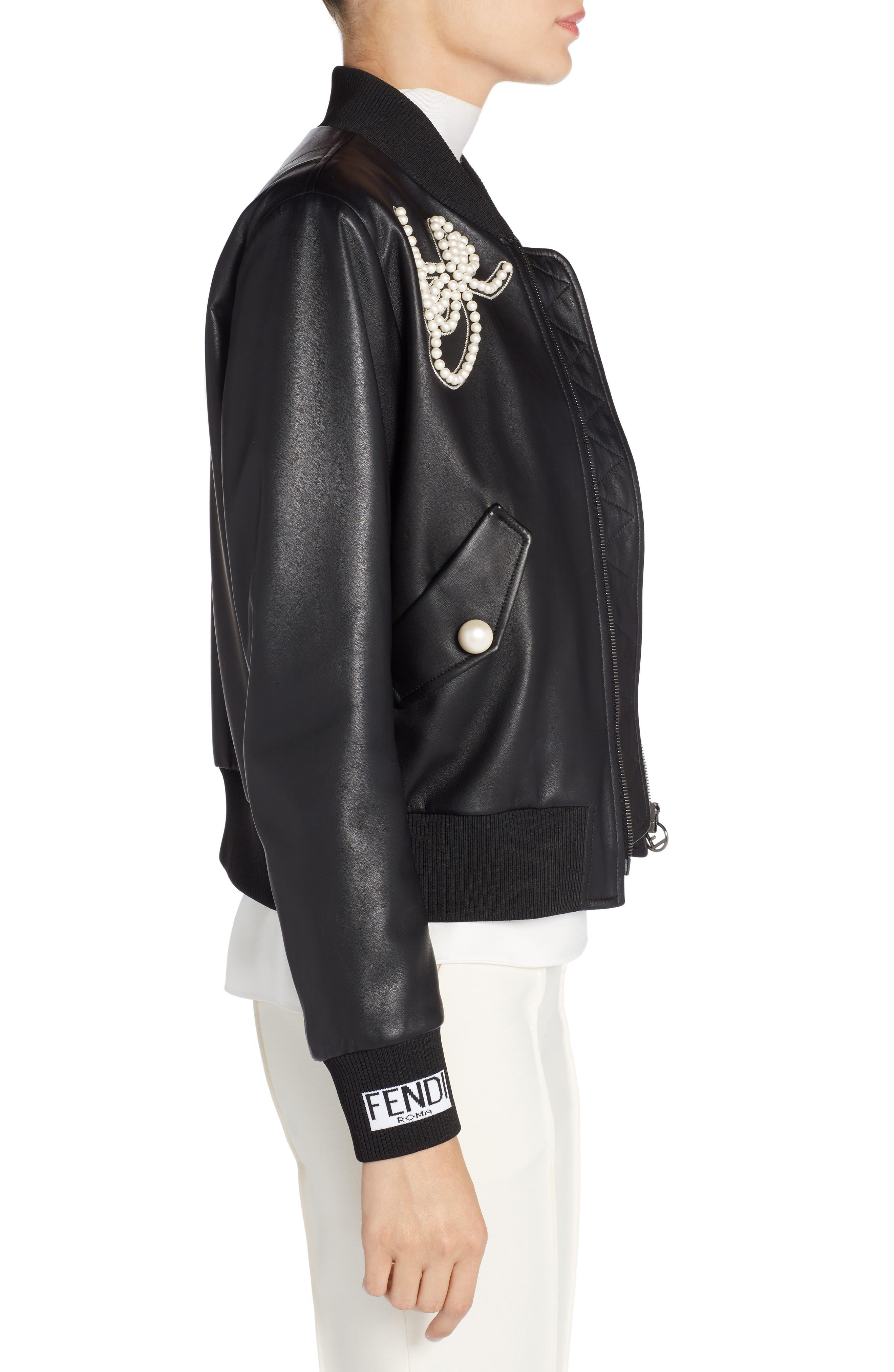 Embellished Bow Leather Bomber,                             Alternate thumbnail 3, color,                             Black