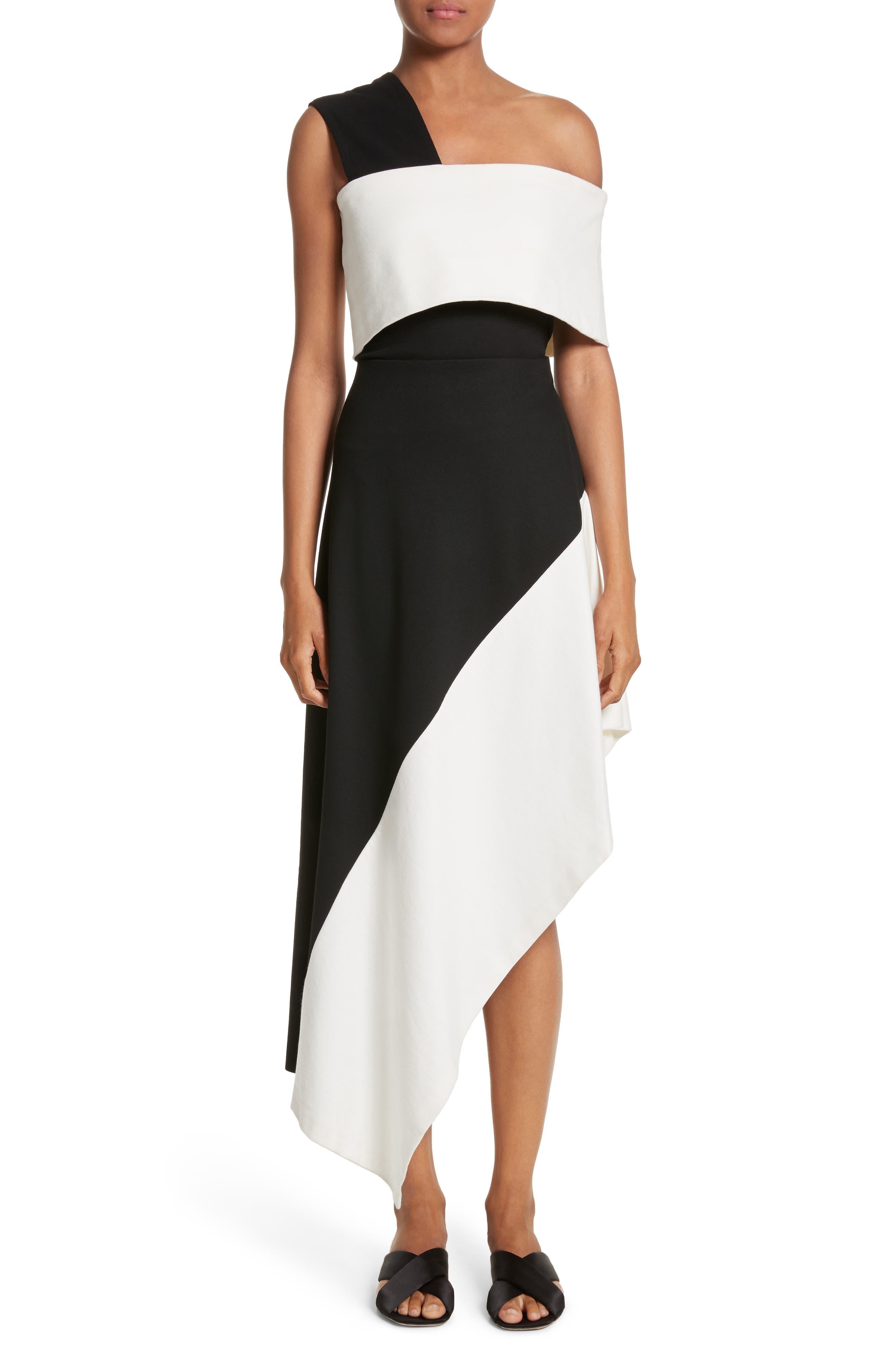 One-Shoulder Jersey Top,                             Alternate thumbnail 8, color,                             Black/ Ivory