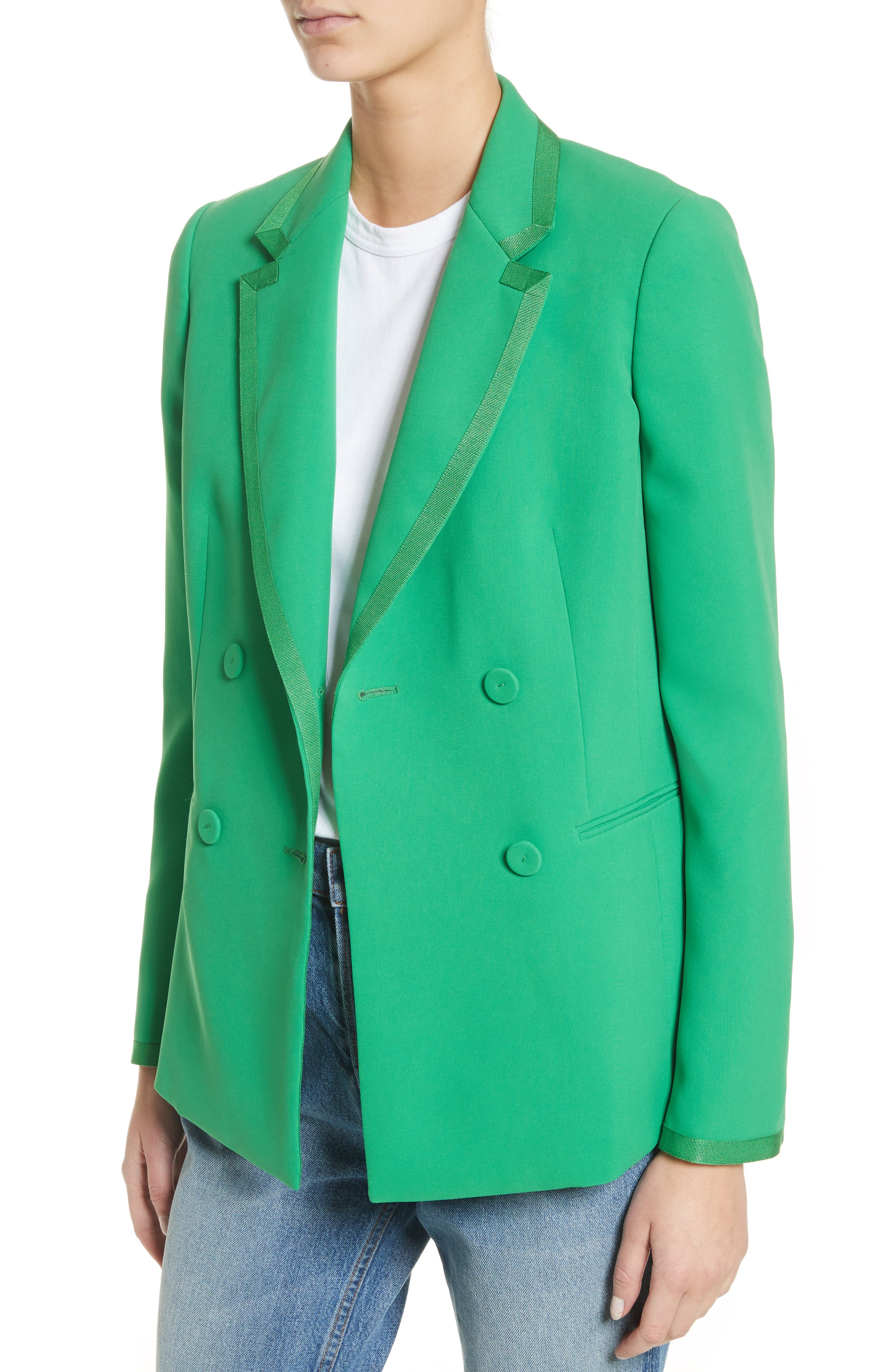 Double Breasted Blazer,                             Alternate thumbnail 2, color,                             Green