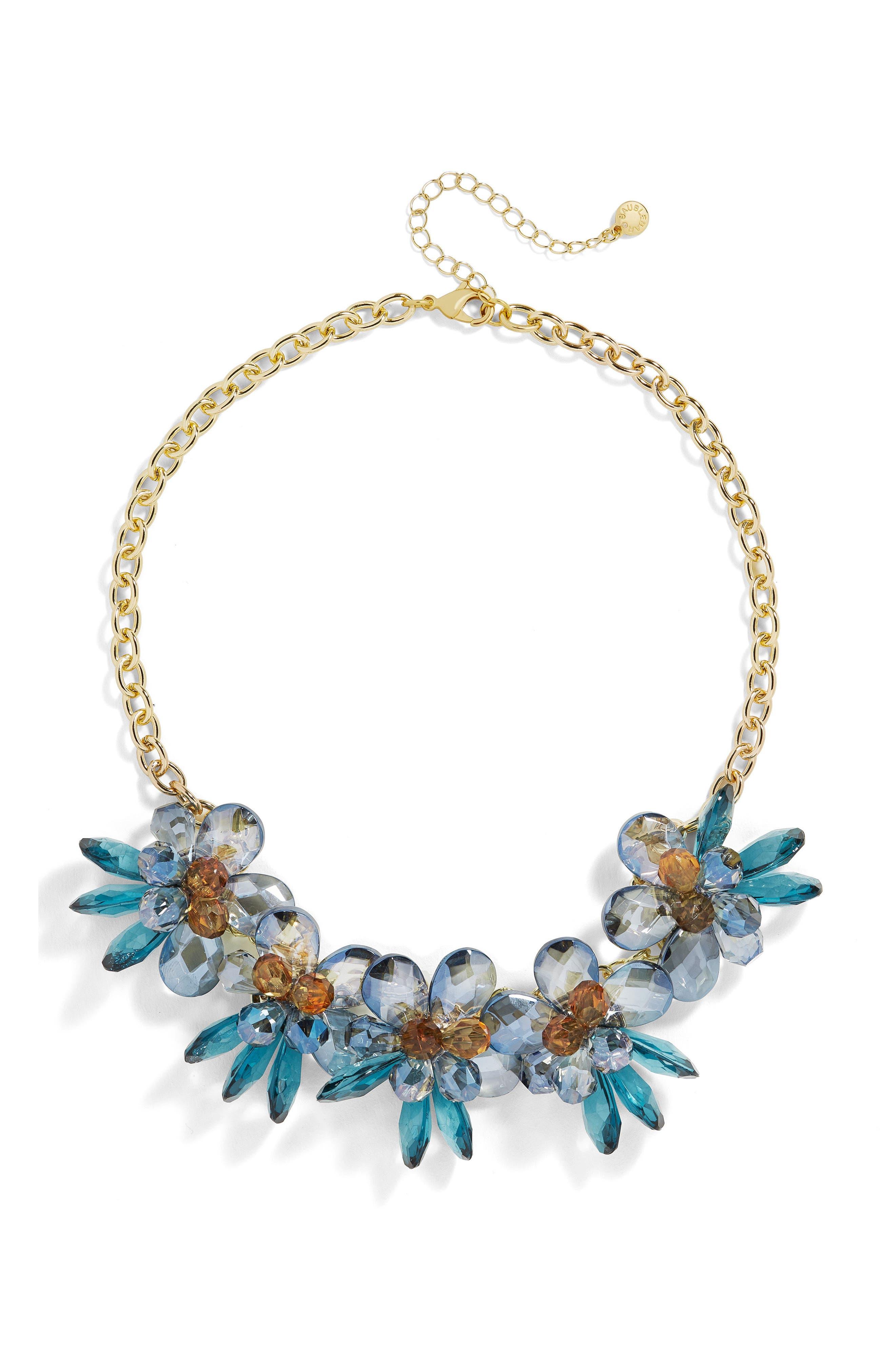 Crystalline Large Flower Statement Necklace,                         Main,                         color, Blue