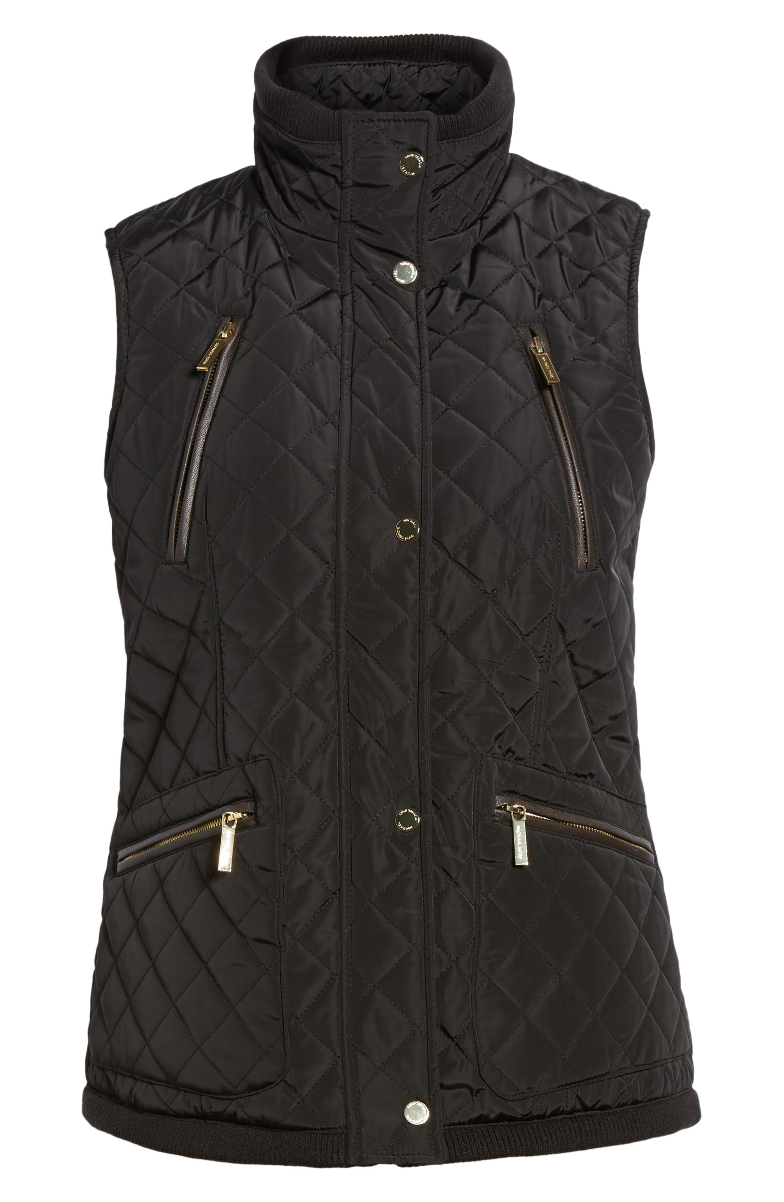 Diamond Quilted Vest,                         Main,                         color, Black