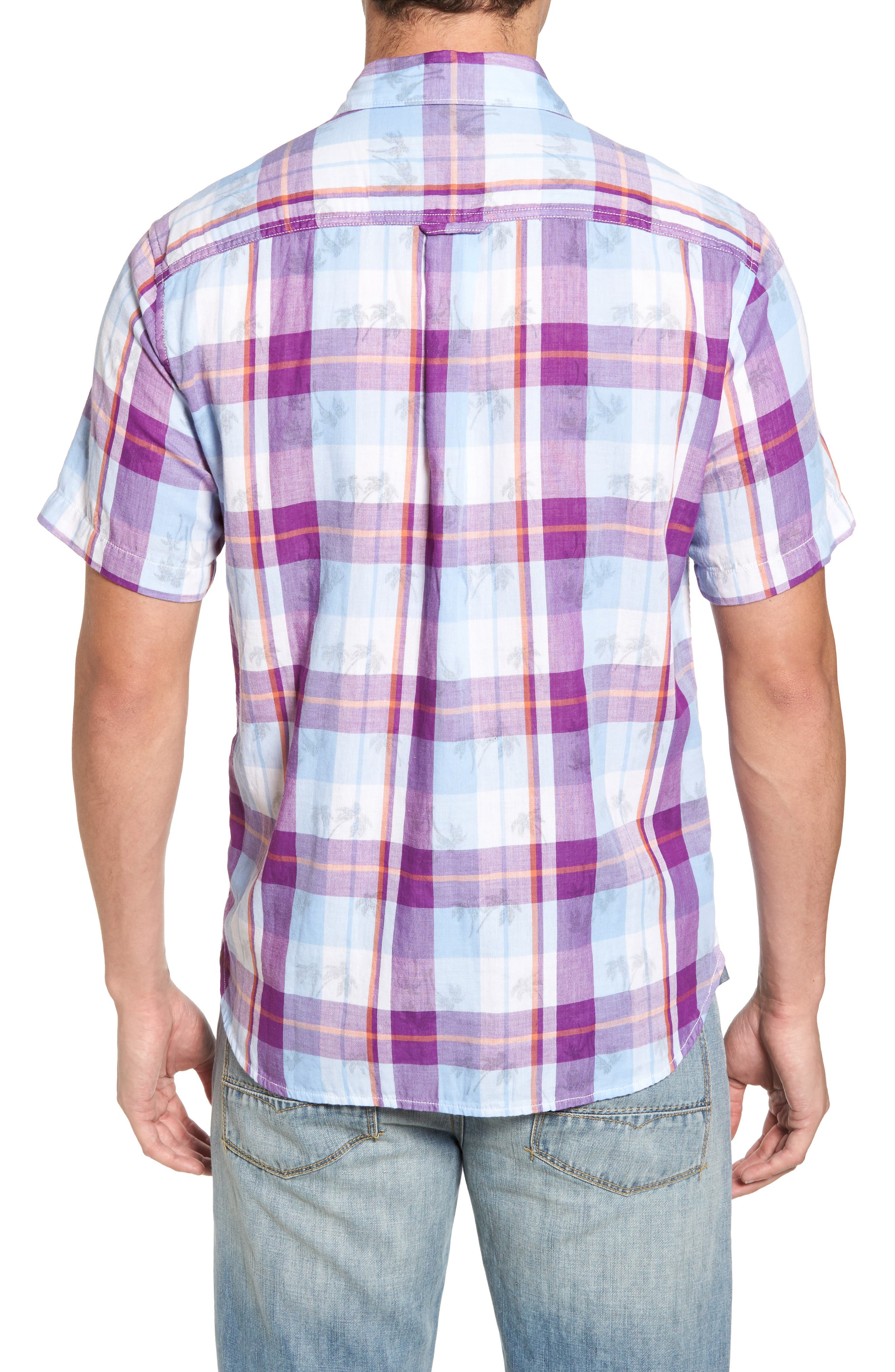 Double Flora Plaid Cotton Camp Shirt,                             Alternate thumbnail 2, color,                             Spring Fuchsia
