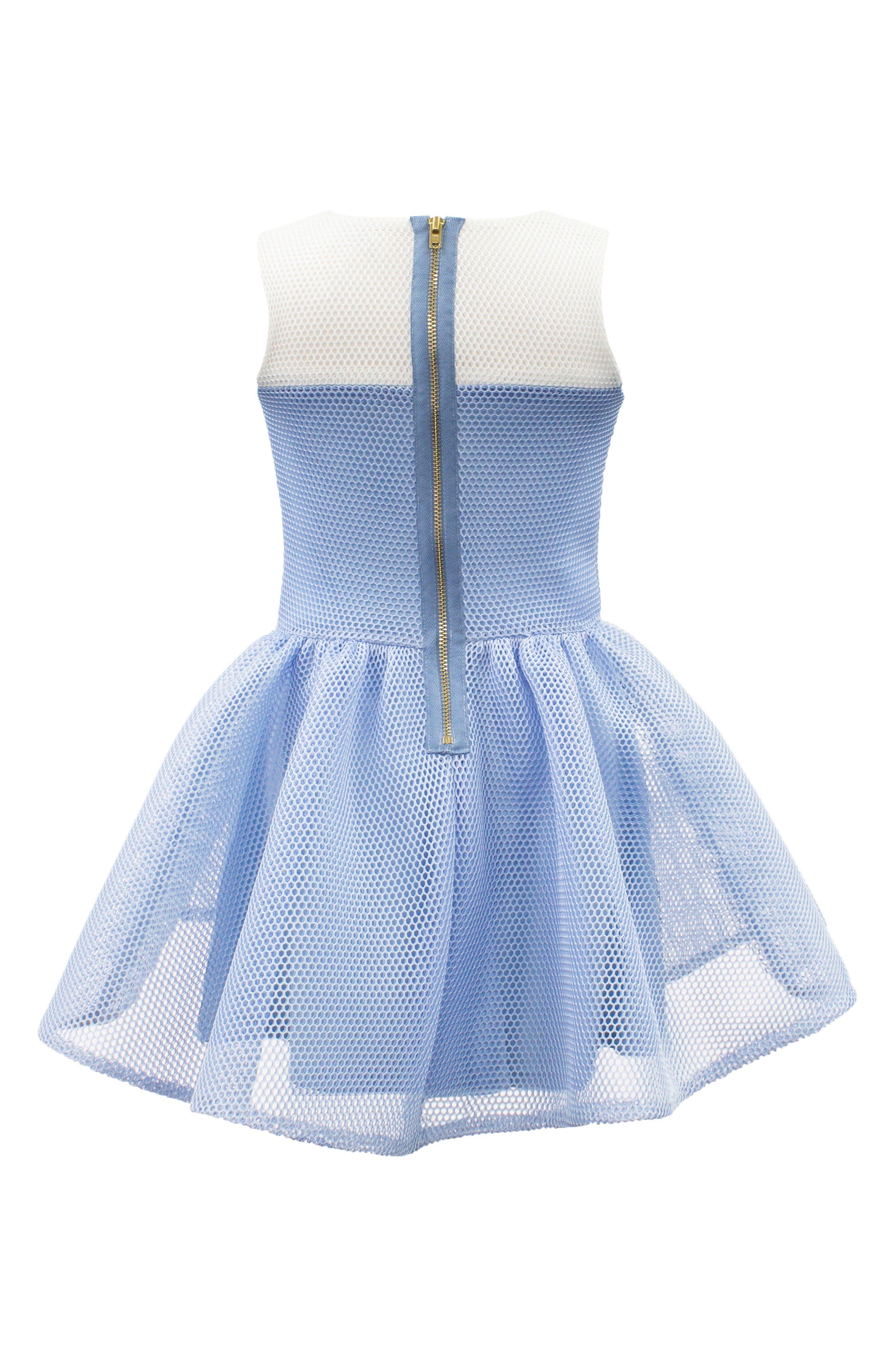 Mesh Fit & Flare Dress,                             Alternate thumbnail 2, color,                             Blue/ Ivory