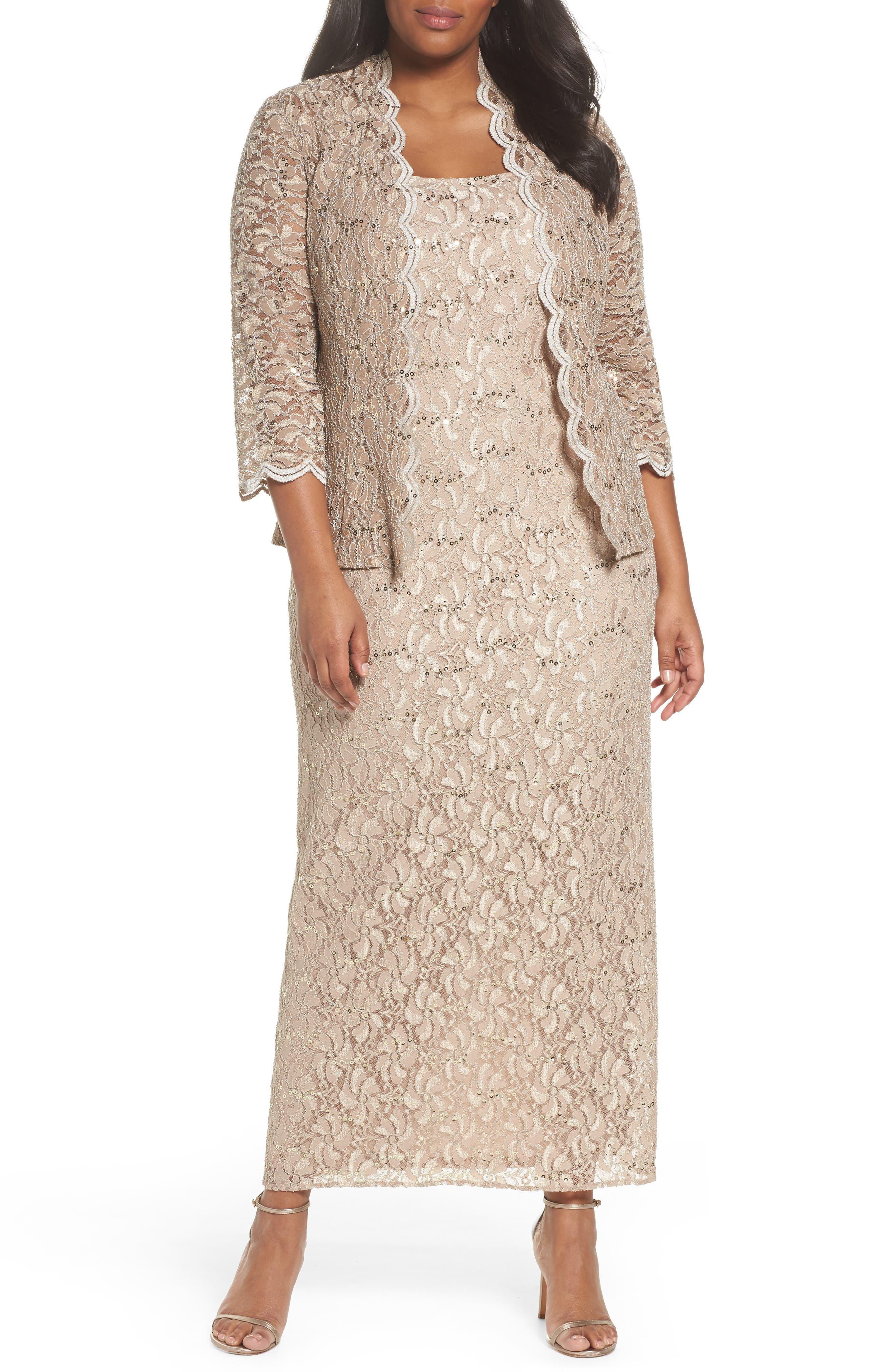 Sequin Lace Gown & Jacket,                             Main thumbnail 1, color,                             Champagne