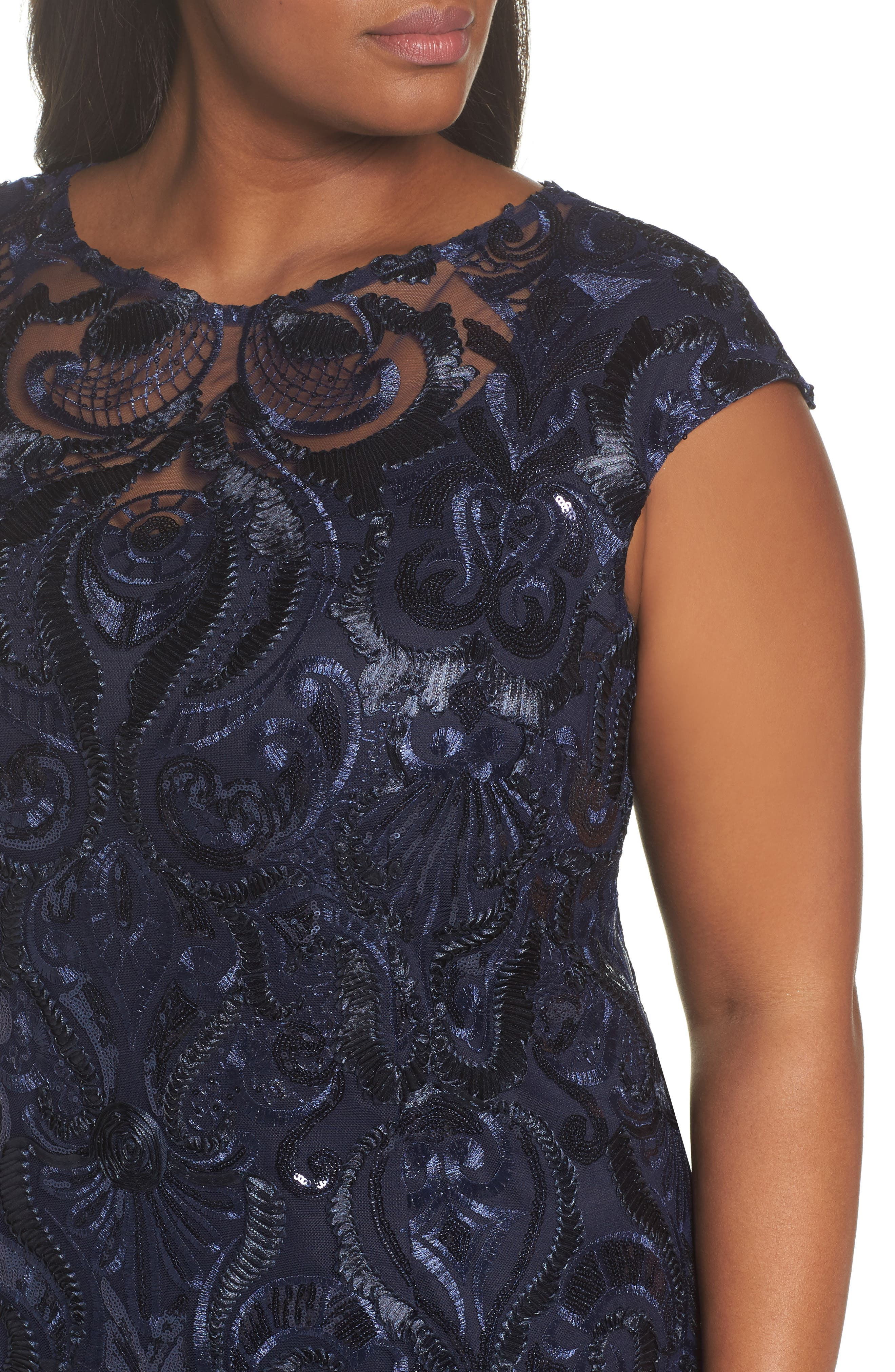 Sequin Embroidered Sheath Dress,                             Alternate thumbnail 4, color,                             Navy