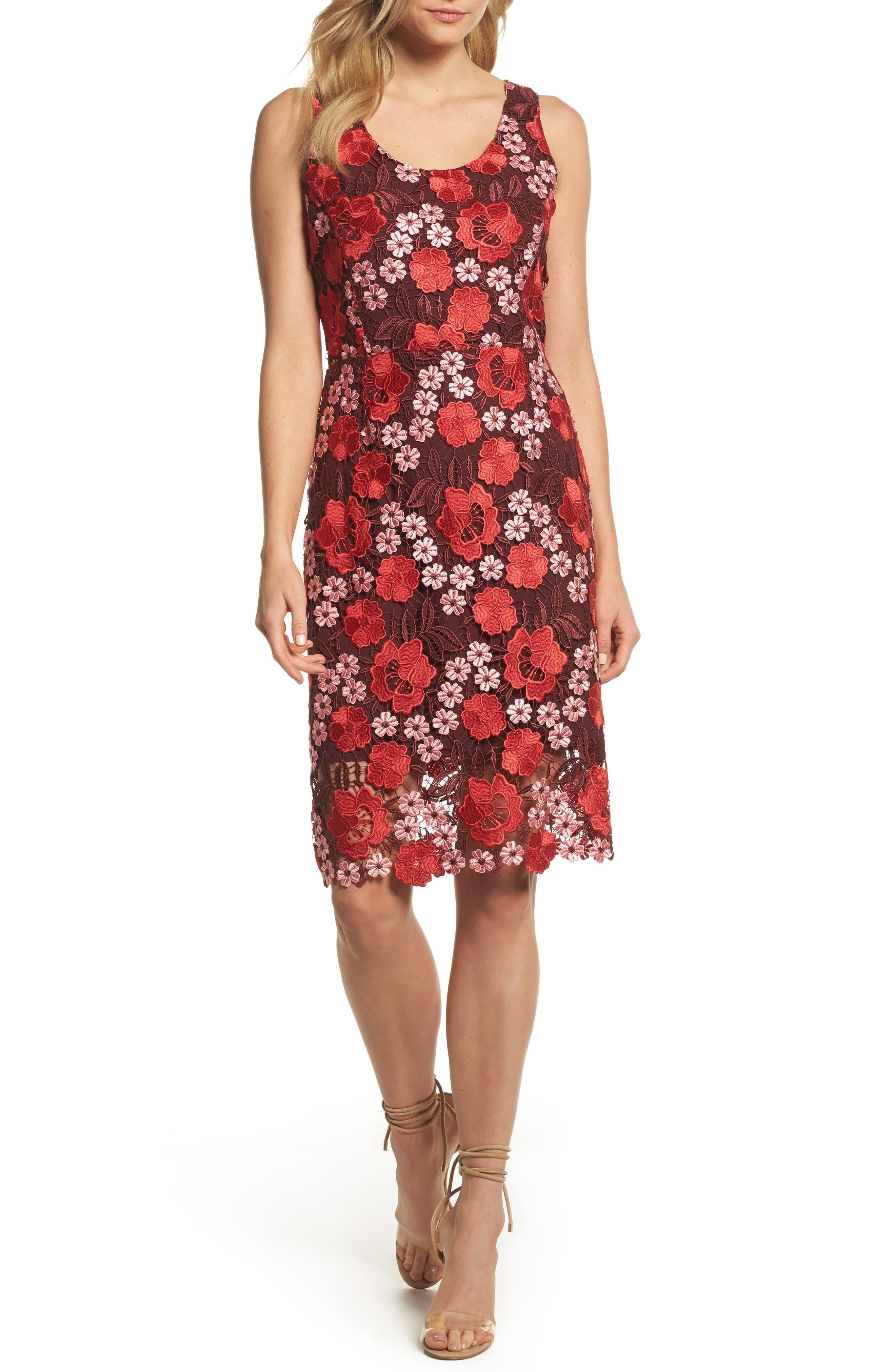 Multicolor Lace Dress,                         Main,                         color, Red