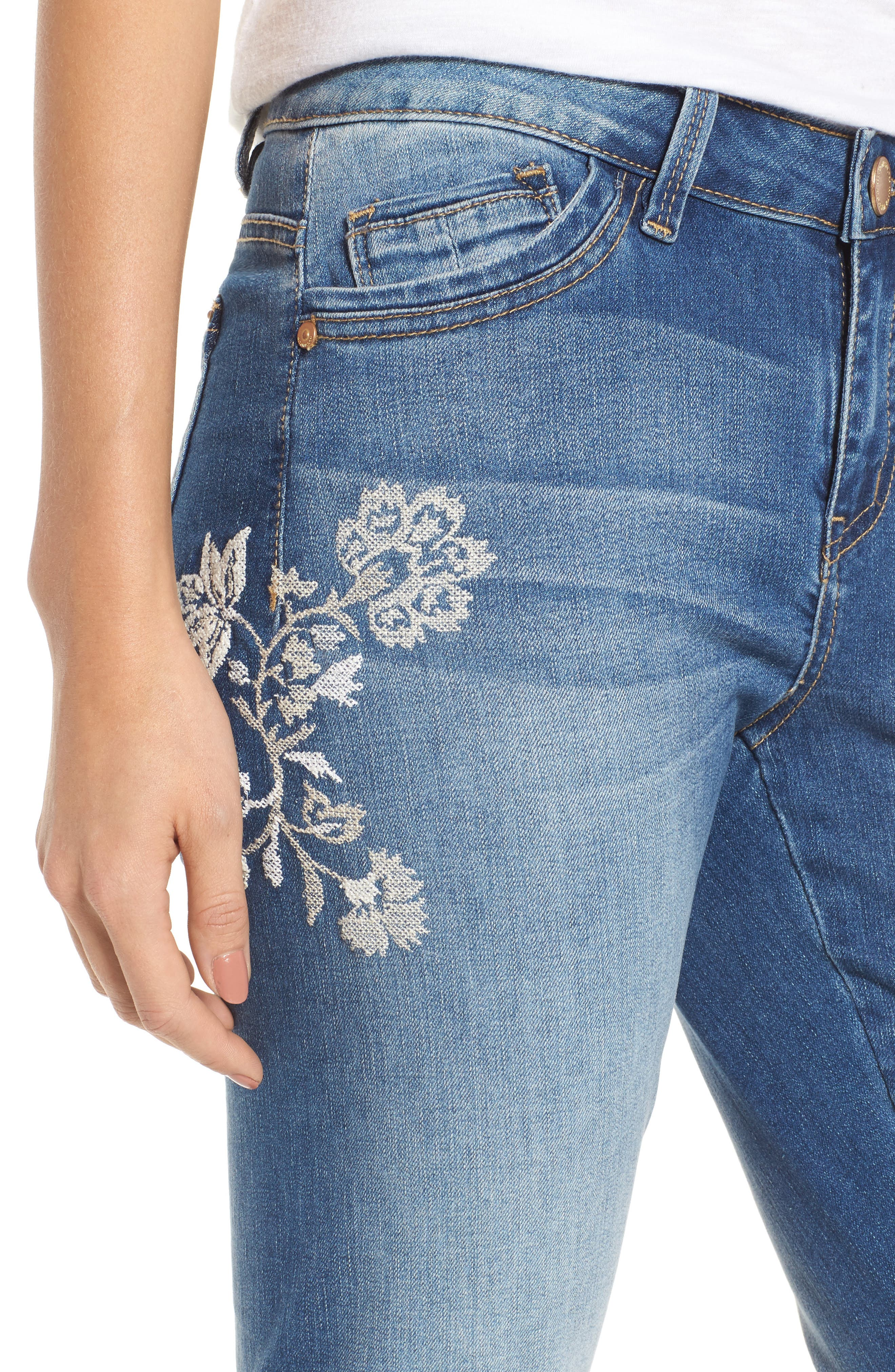 Alternate Image 5  - Wit & Wisdom Embroidered Frayed Hem Ankle Jeans (Nordstrom Exclusive) (Regular & Petite)