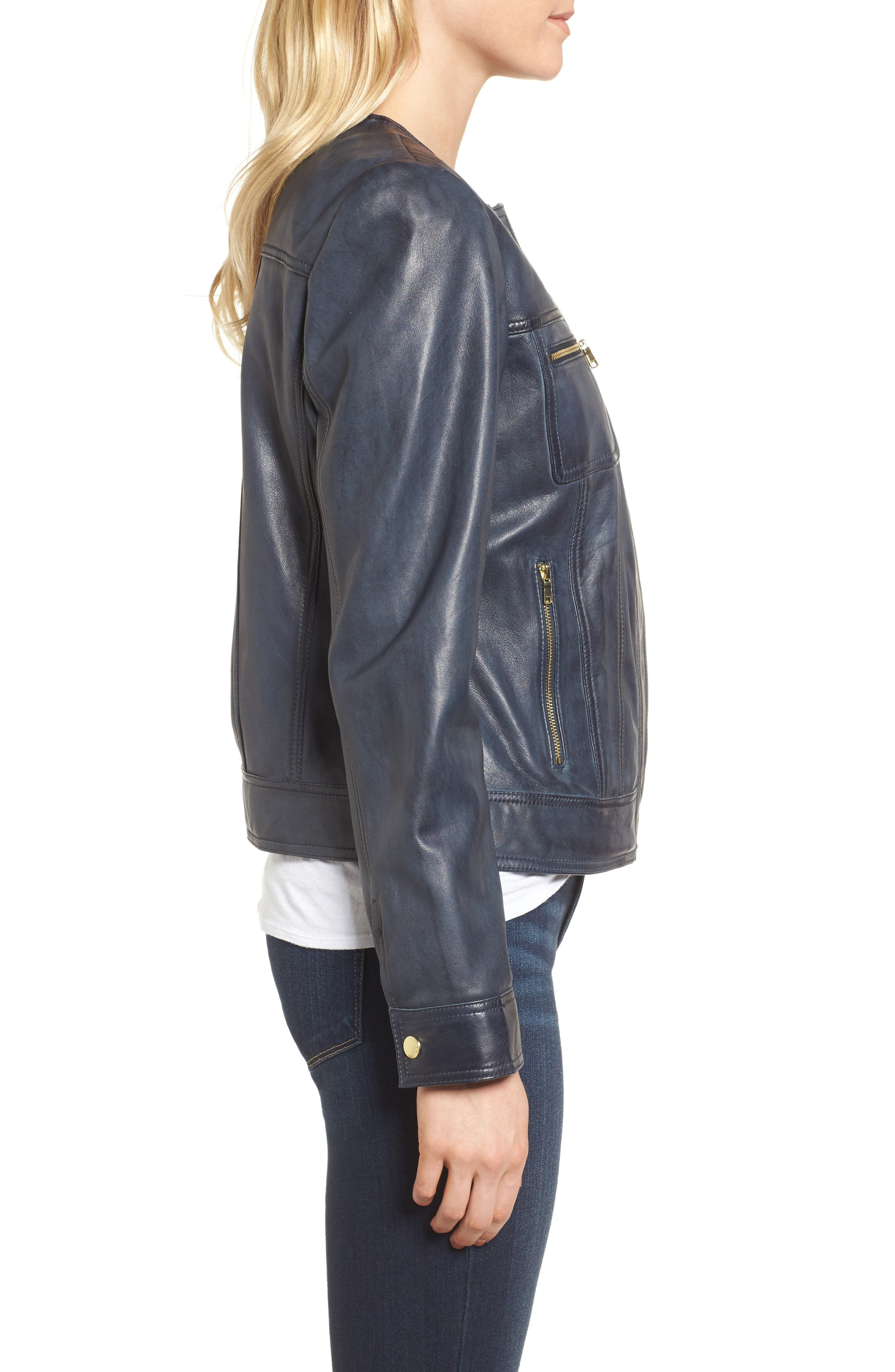 Alternate Image 3  - Cole Haan Signature Collarless Leather Trucker Jacket