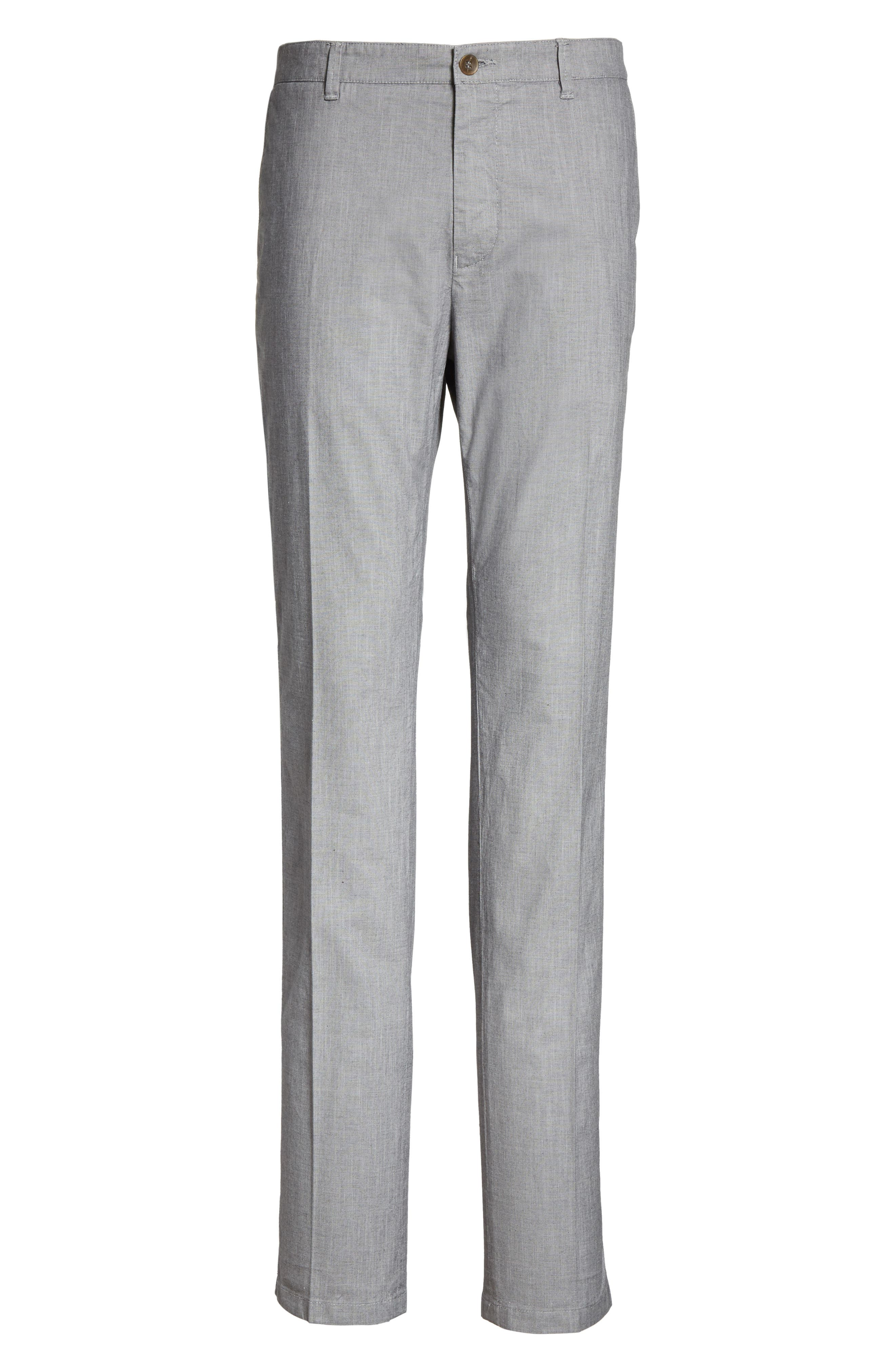 French Pocket Stretch Straight Leg Pants,                             Alternate thumbnail 6, color,                             Grey