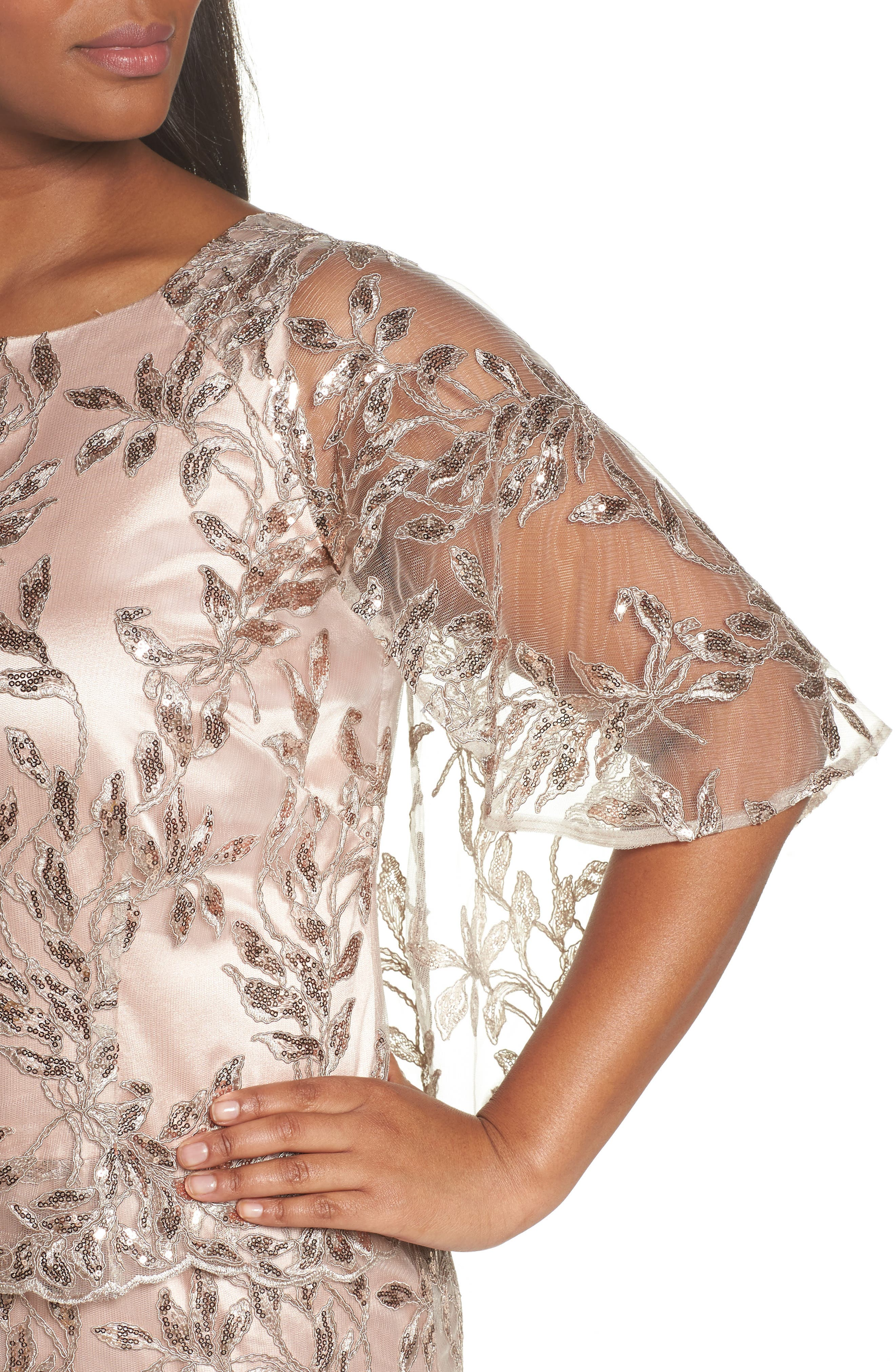 Sequin Embroidered Capelet Gown,                             Alternate thumbnail 4, color,                             Latte