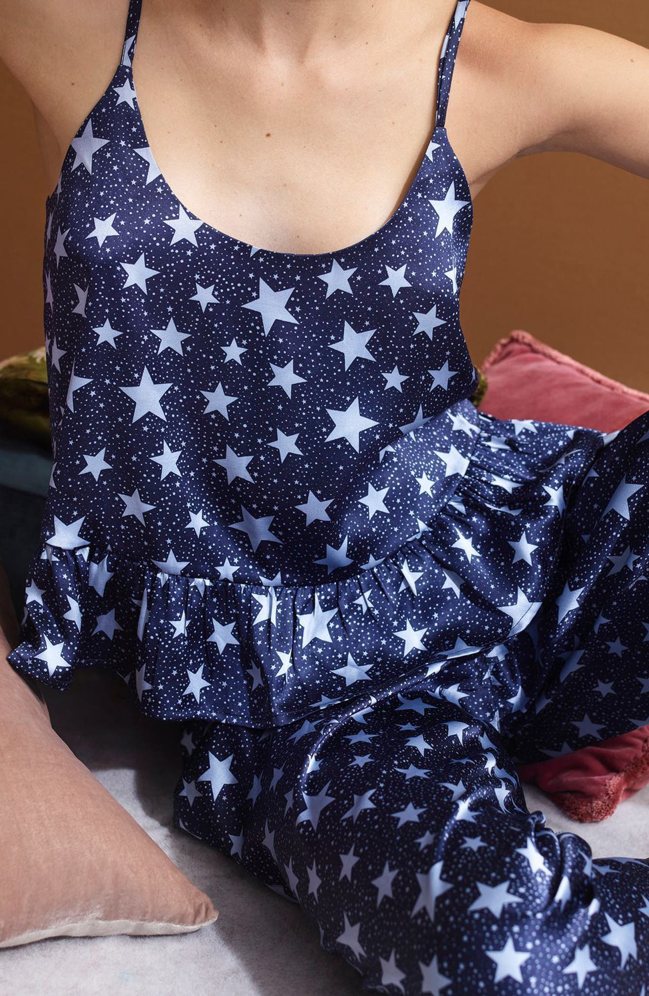 Star Satin Pajamas,                             Alternate thumbnail 3, color,                             Navy Blue Multi