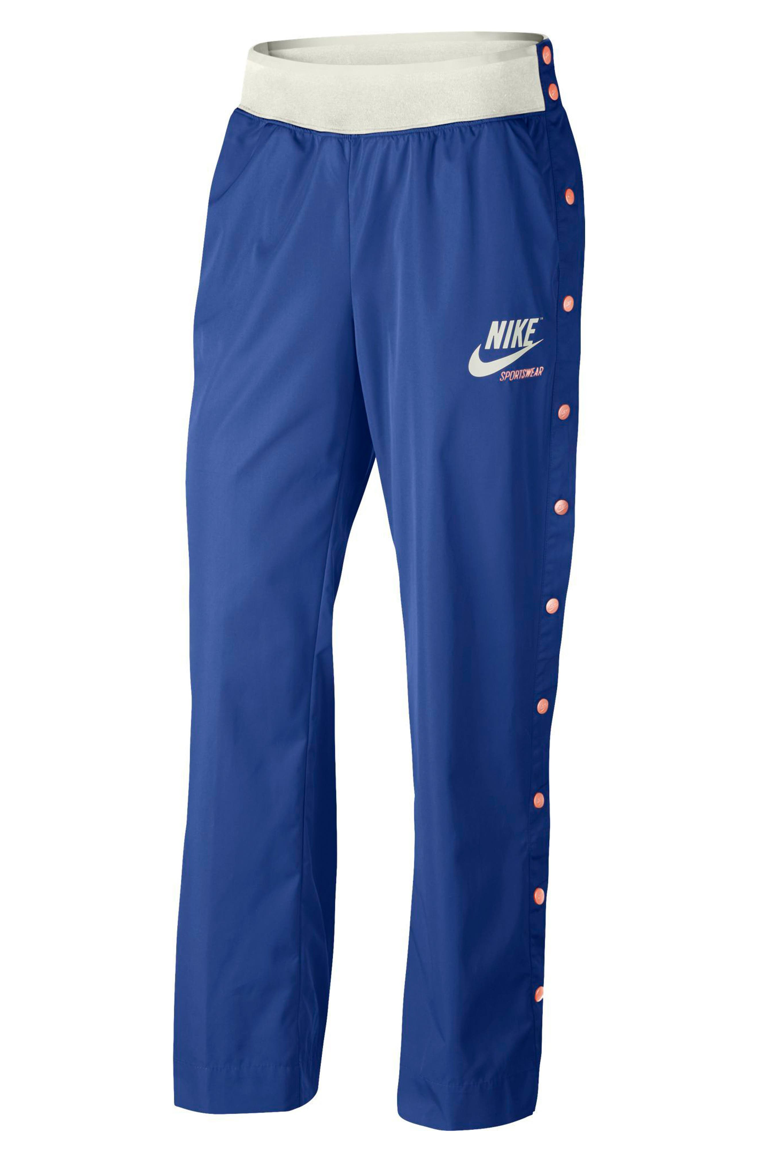 Sportswear Women's Side Snap Pants,                         Main,                         color, Game Royal/ Bleached Coral
