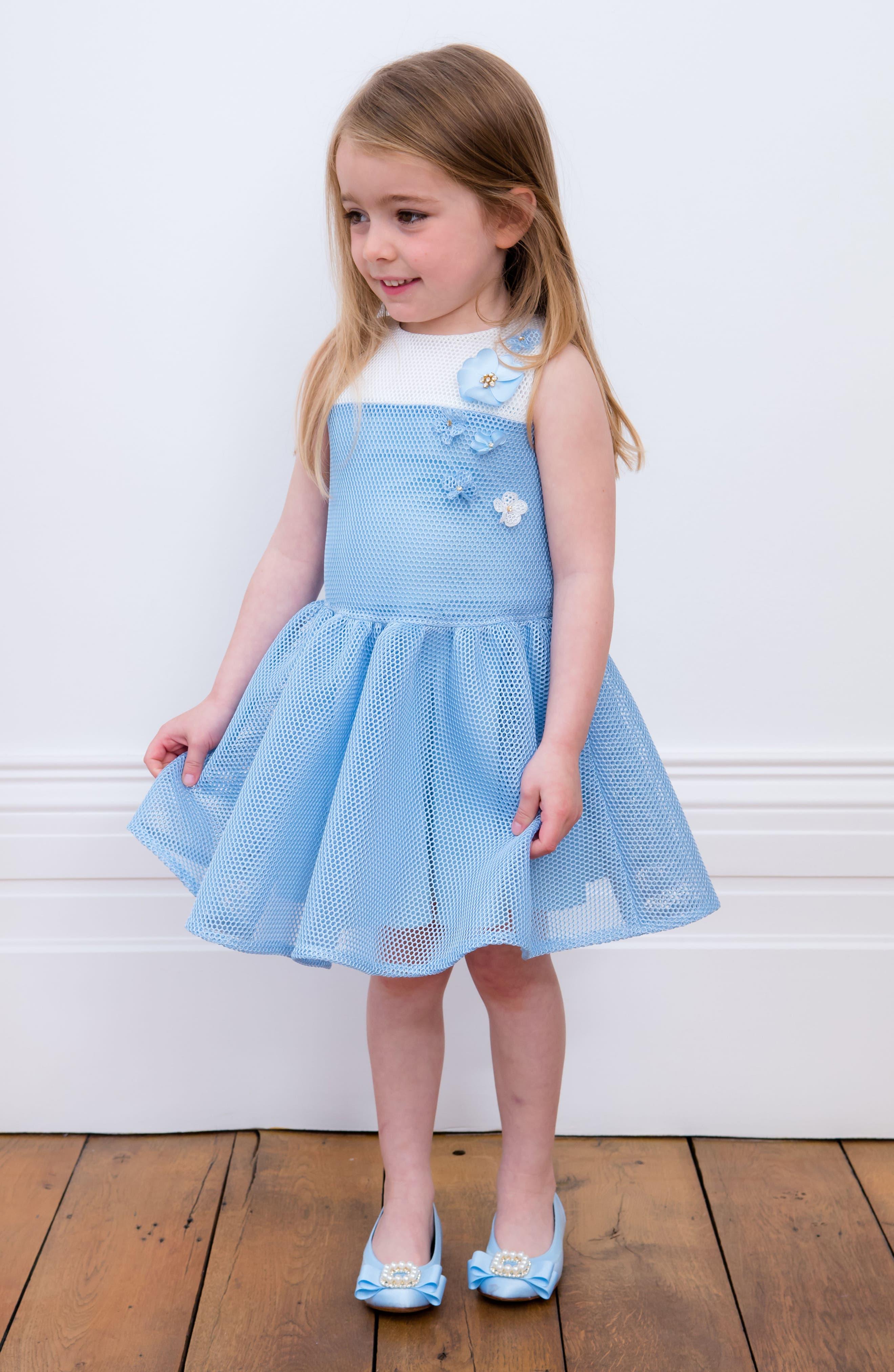 Mesh Fit & Flare Dress,                             Alternate thumbnail 4, color,                             Blue/ Ivory