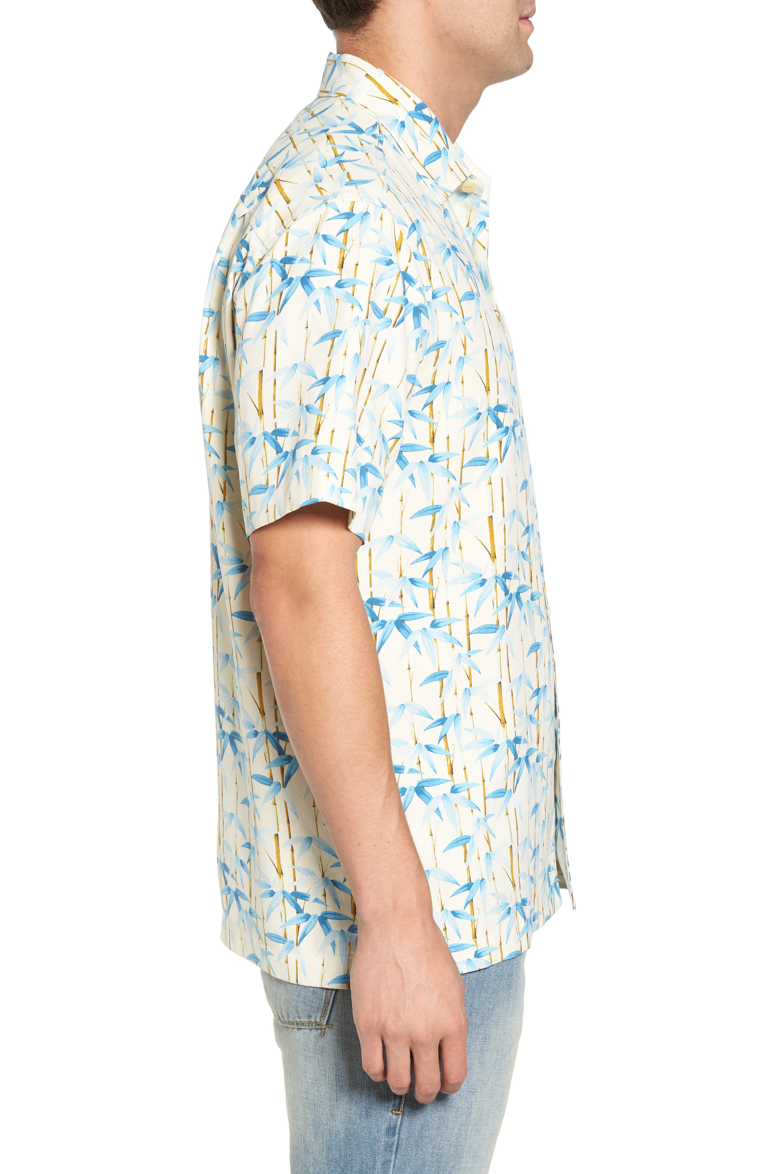 Forest Print Silk Sport Shirt,                             Alternate thumbnail 3, color,                             Coconut Cream