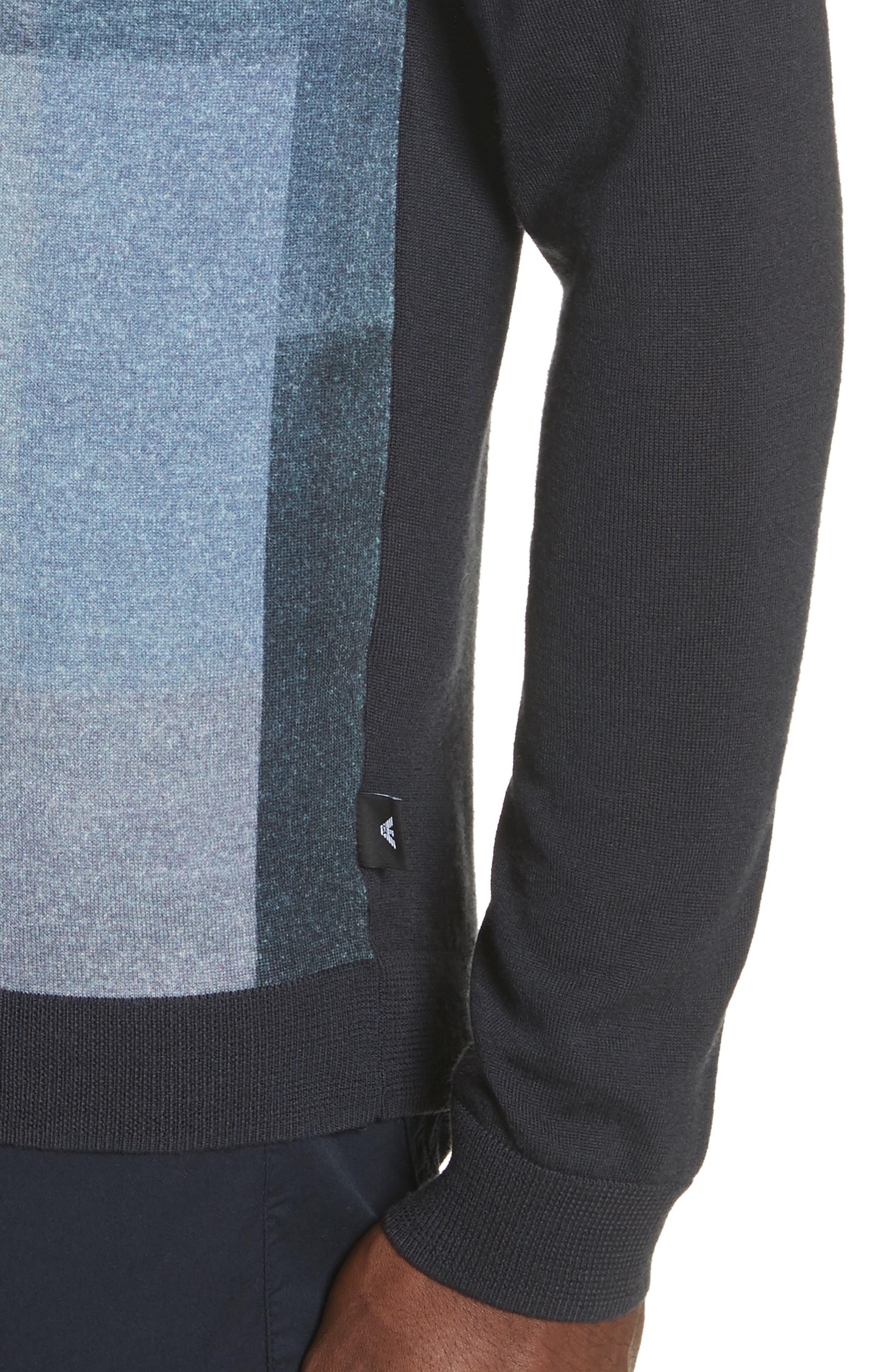 Crewneck Colorblock Slim Fit Sweater,                             Alternate thumbnail 4, color,                             Blue Multi