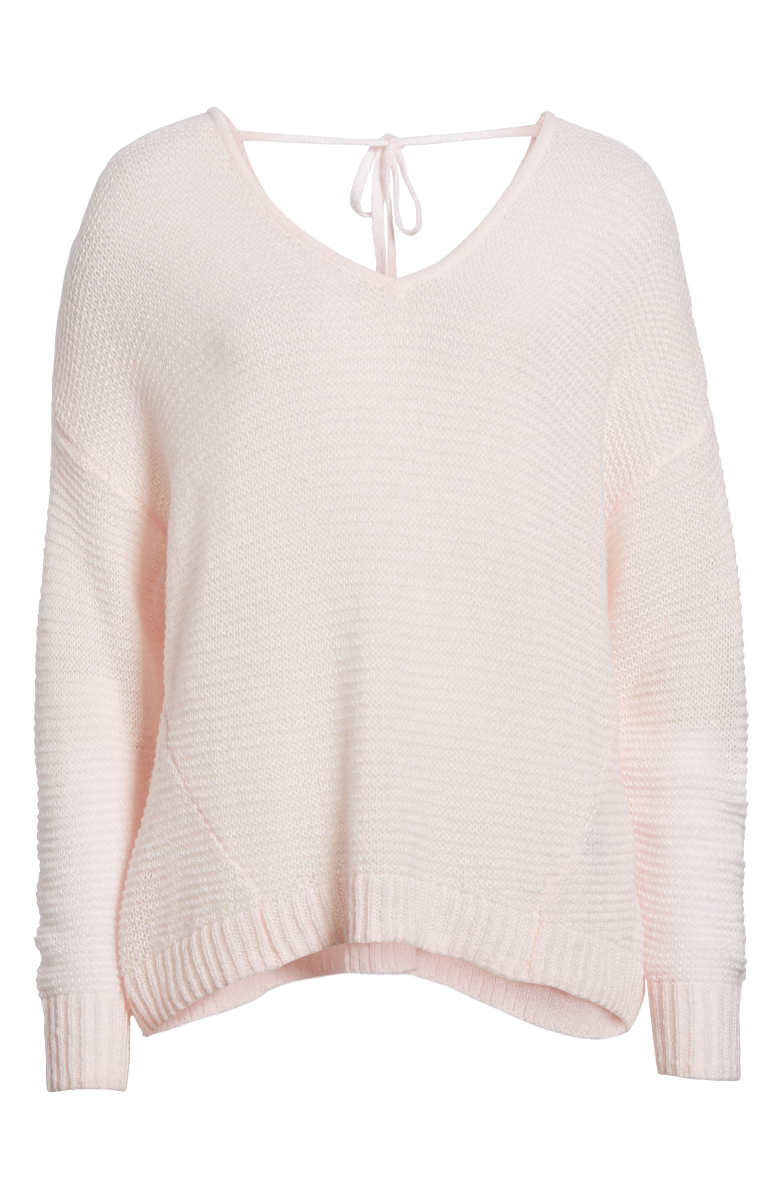 Double V Sweater,                             Alternate thumbnail 6, color,                             Pink Breath