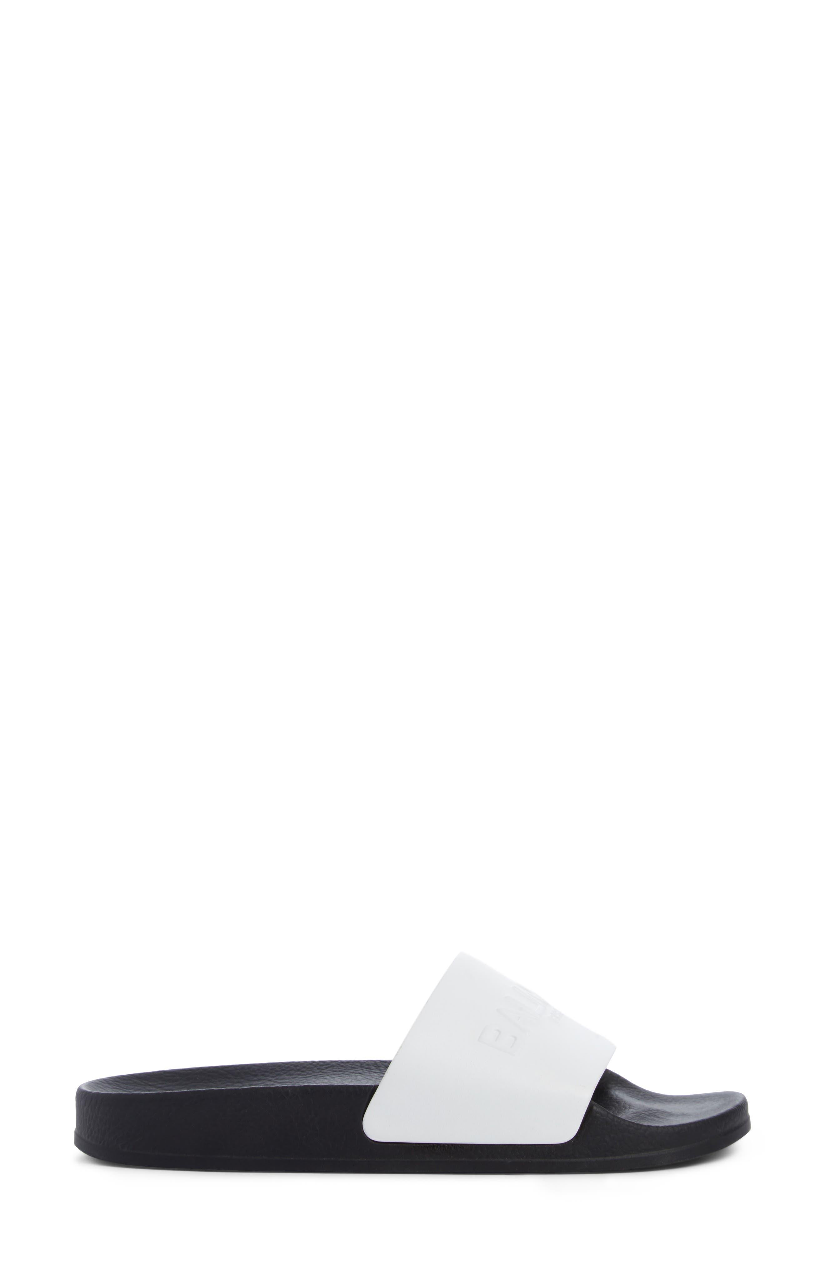 Calypso Logo Strap Slide Sandal,                             Alternate thumbnail 3, color,                             White