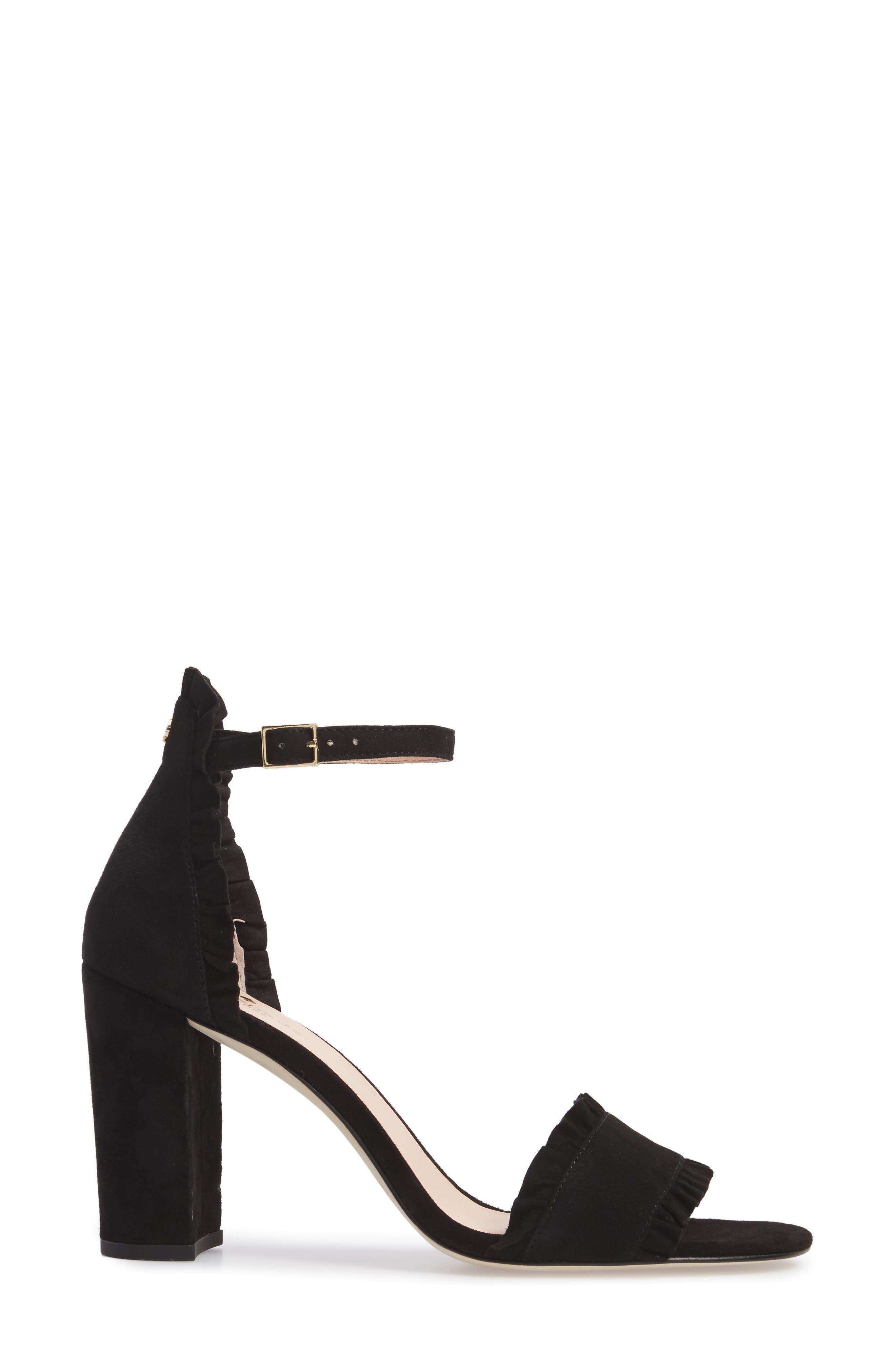 odele ruffle sandal,                             Alternate thumbnail 3, color,                             Black Suede