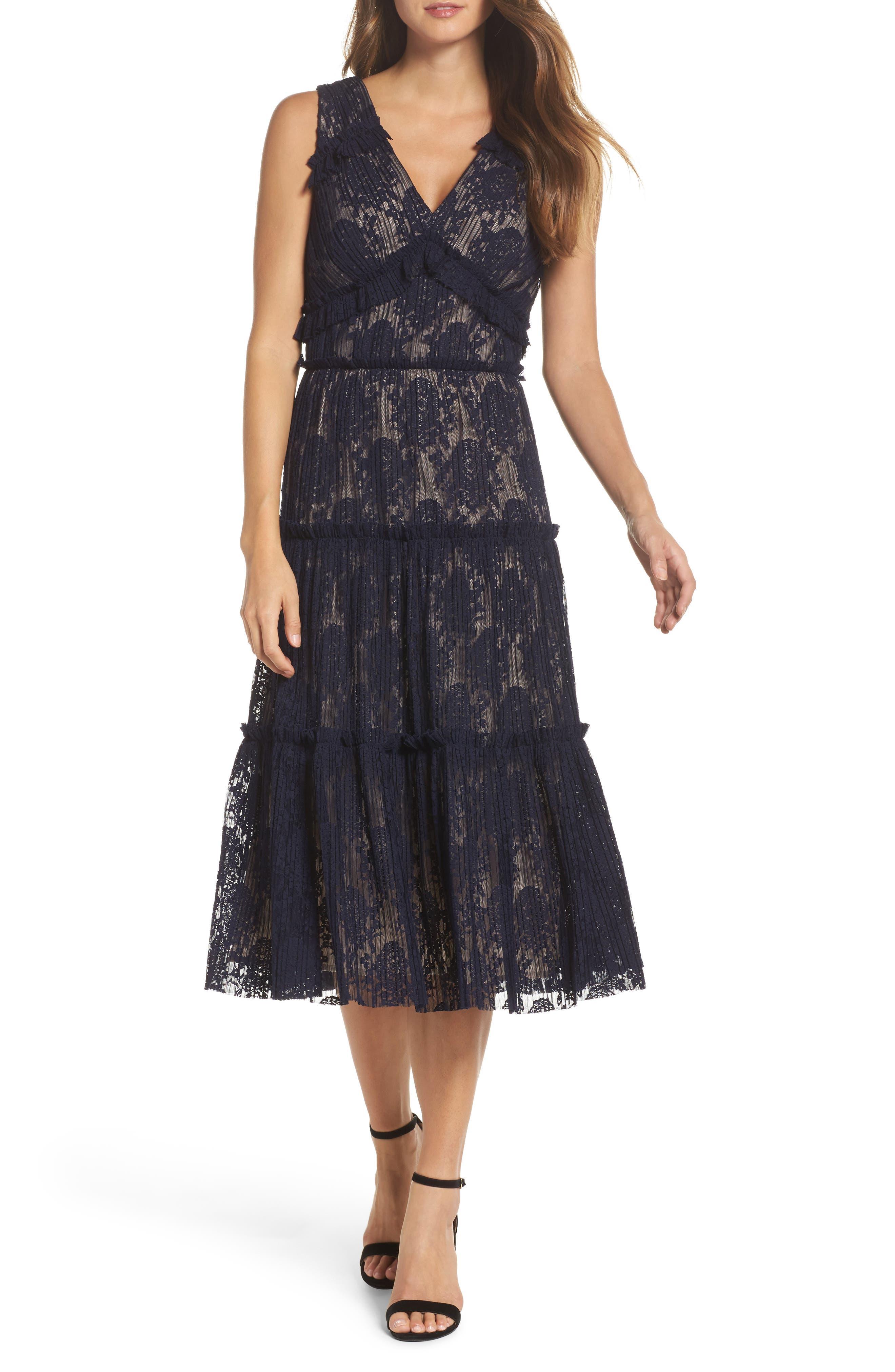 MAGGY LONDON Lace Midi Dress, Galaxy Blue | ModeSens