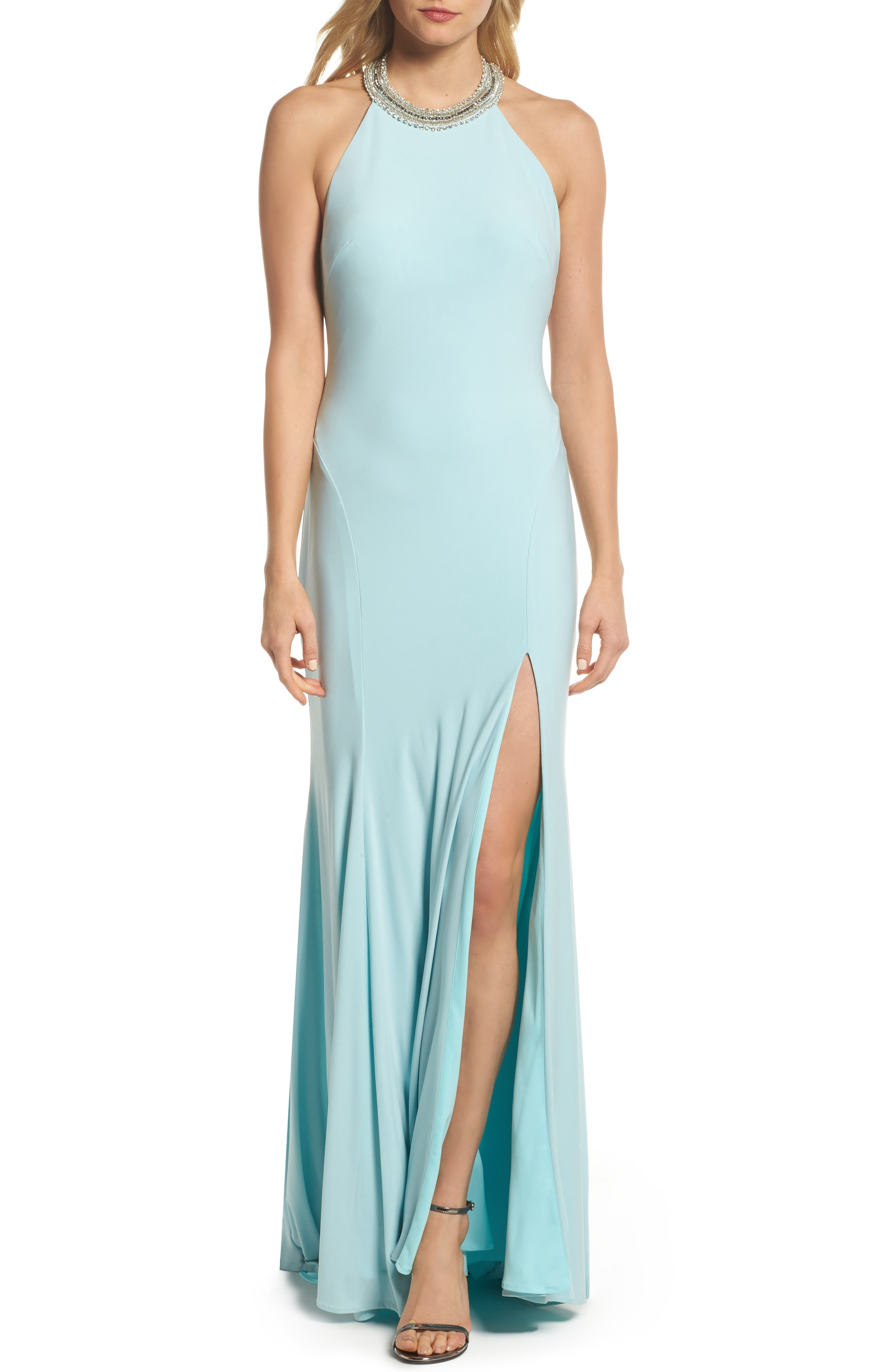 Beaded Halter Neck Gown,                             Main thumbnail 1, color,                             Ice Blue