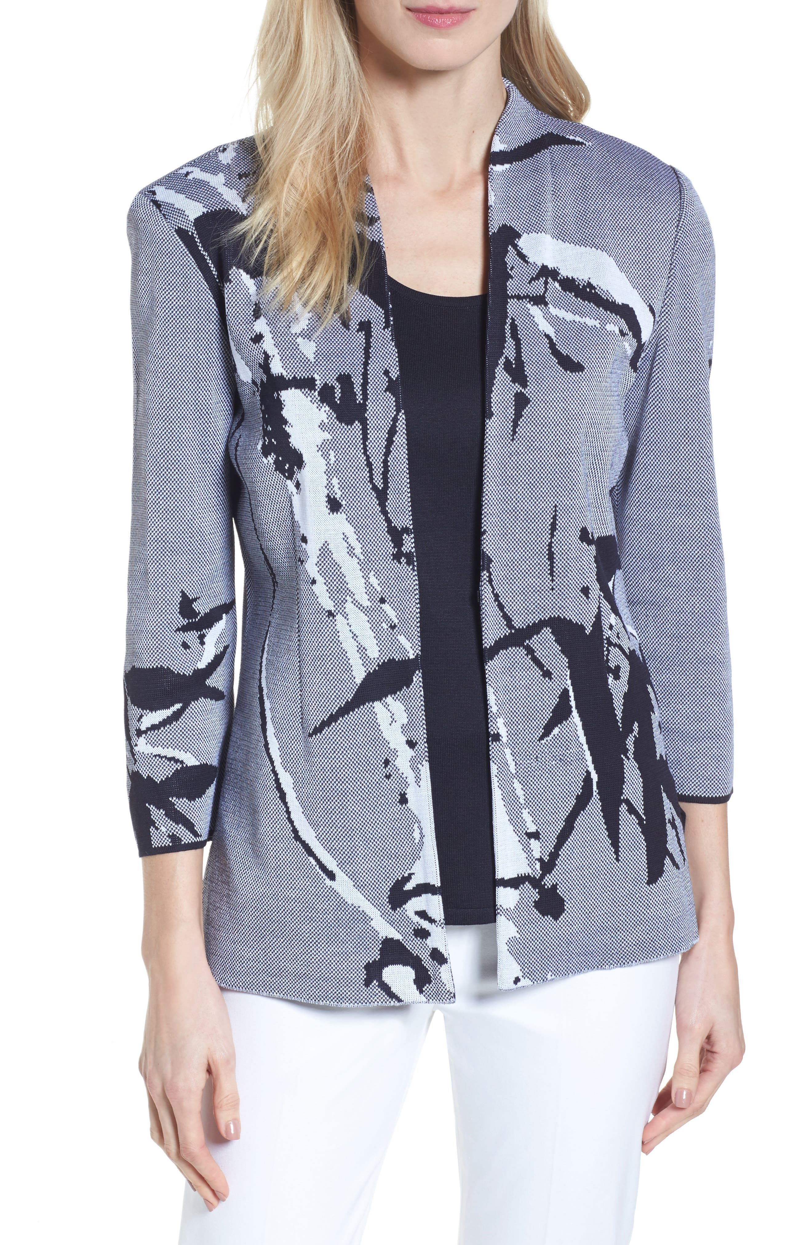 Abstract Jacquard Jacket,                         Main,                         color, Navy/ White