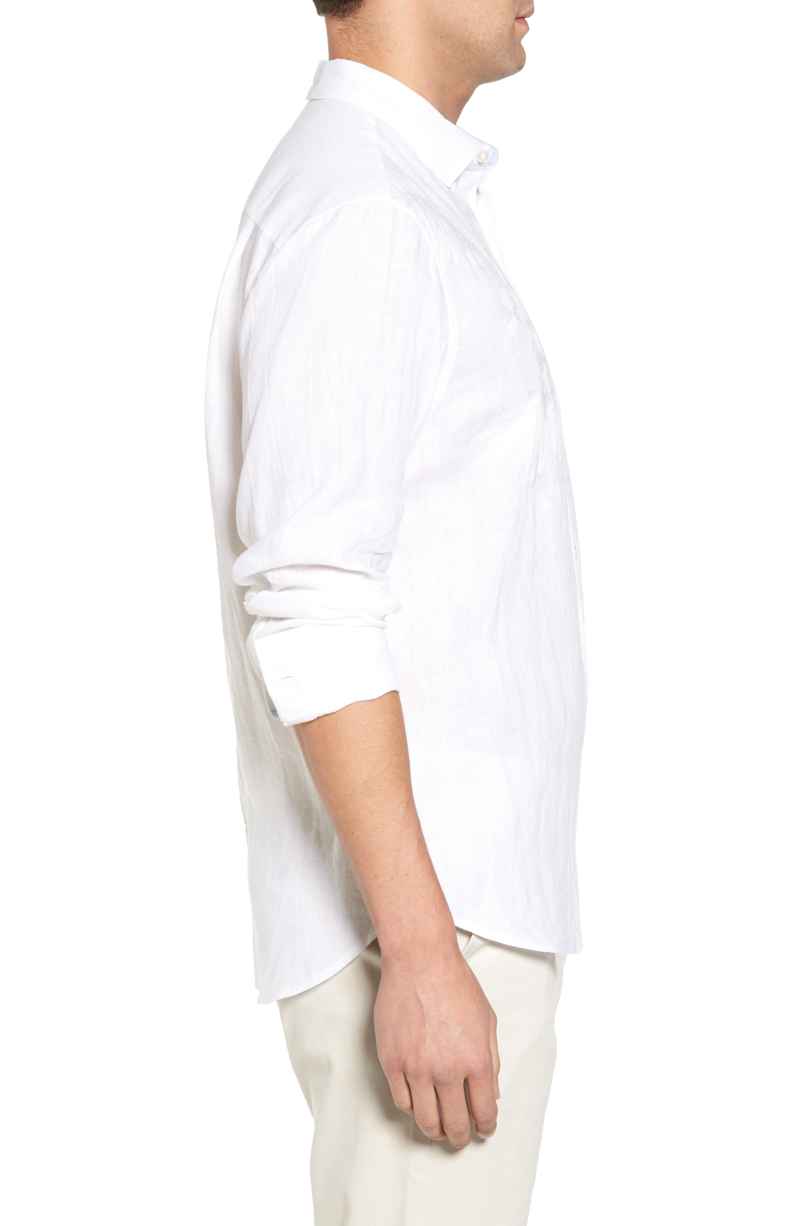 Down the Isle Regular Fit Linen Sport Shirt,                             Alternate thumbnail 3, color,                             White