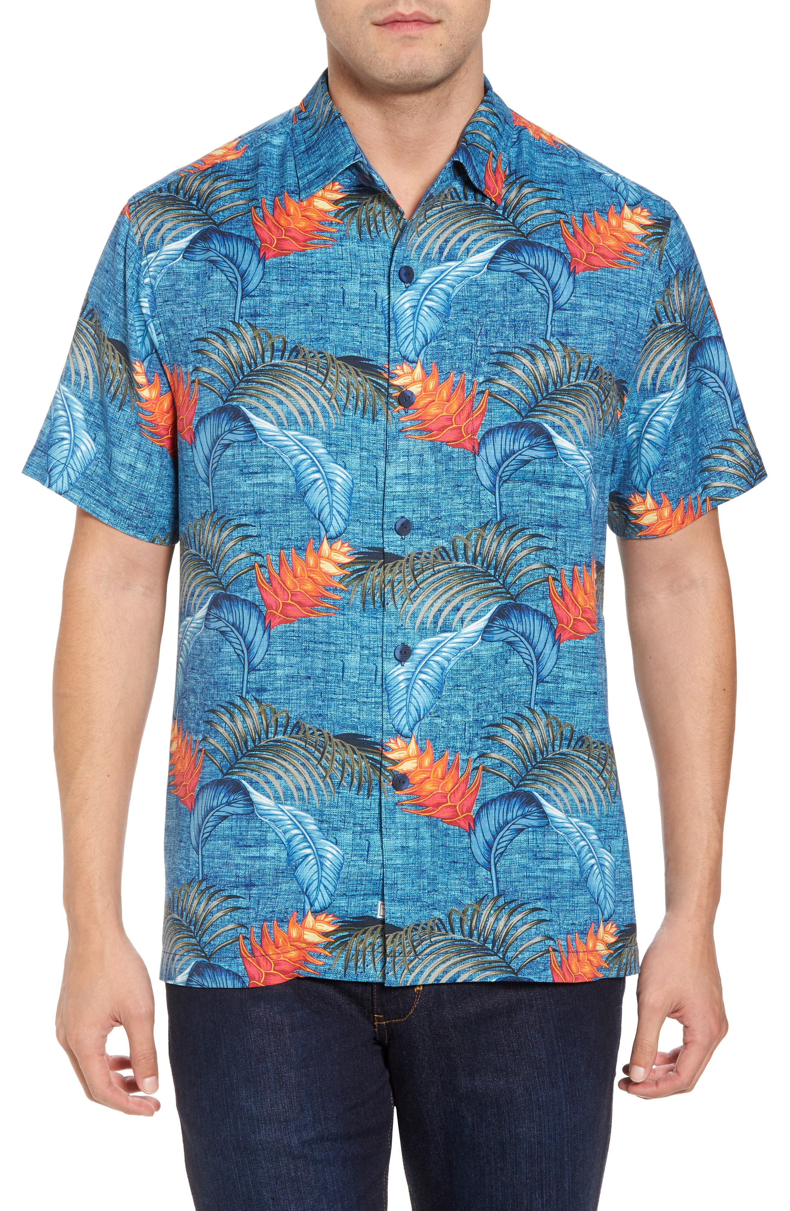 Boca Bouquet Silk Camp Shirt,                         Main,                         color, Kingdom Blue