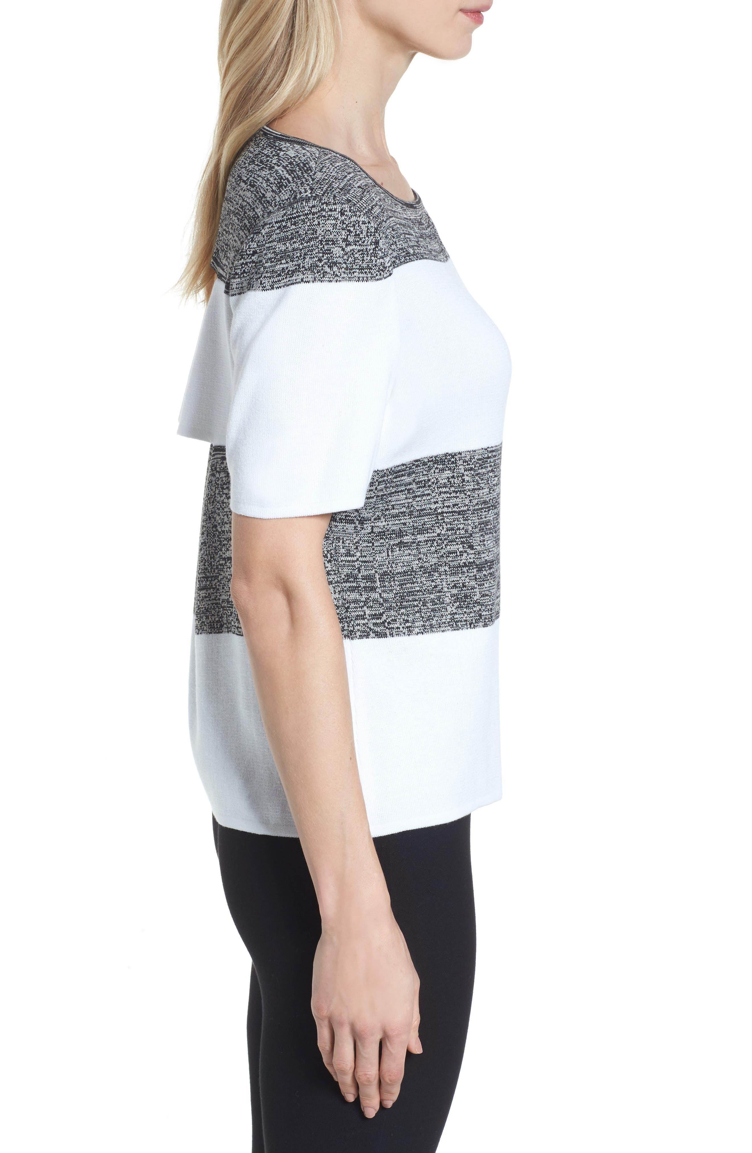 Stripe Open Back Pullover,                             Alternate thumbnail 3, color,                             White/ Almond Beige/ Black