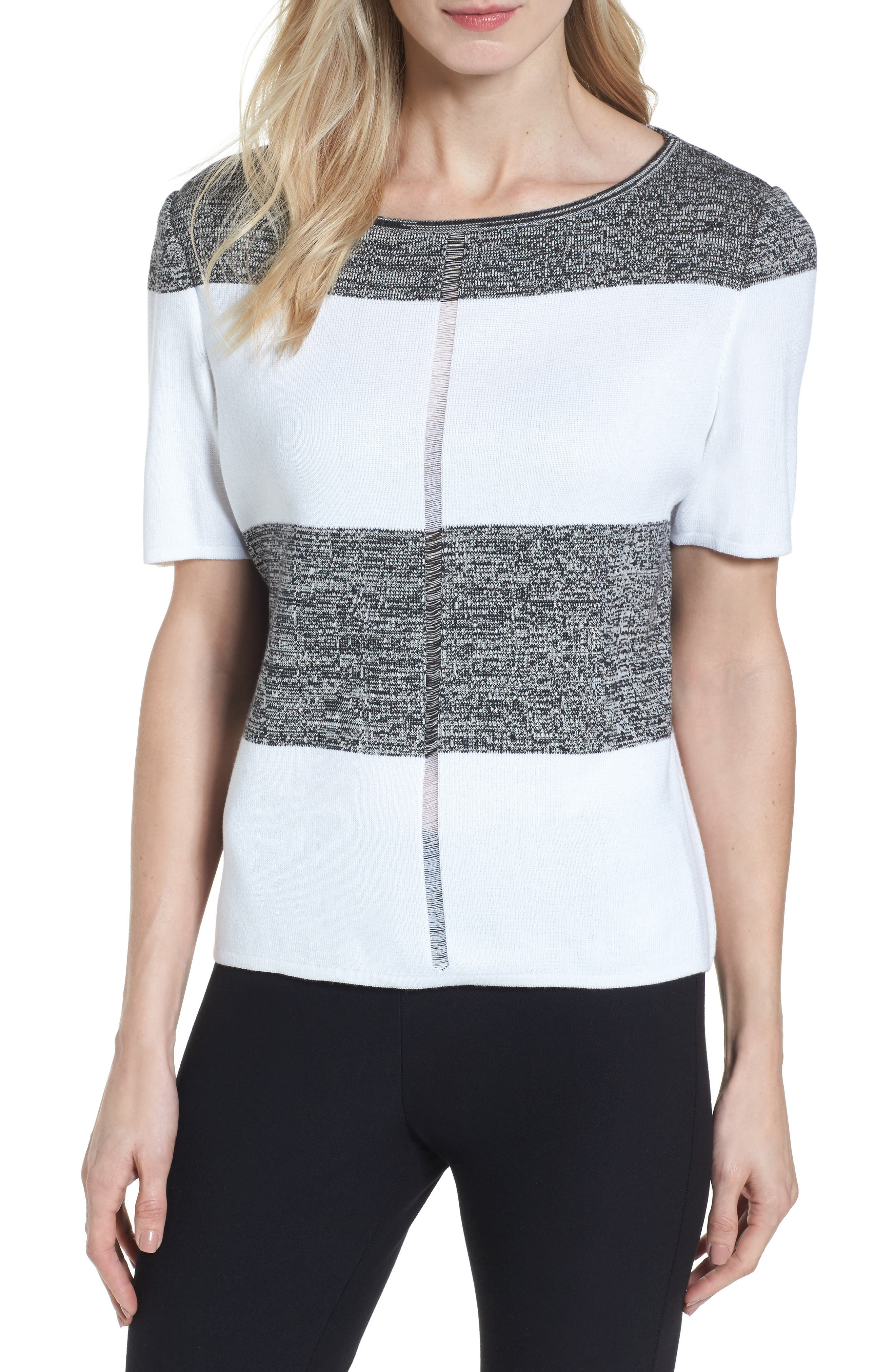 Stripe Open Back Pullover,                             Main thumbnail 1, color,                             White/ Almond Beige/ Black