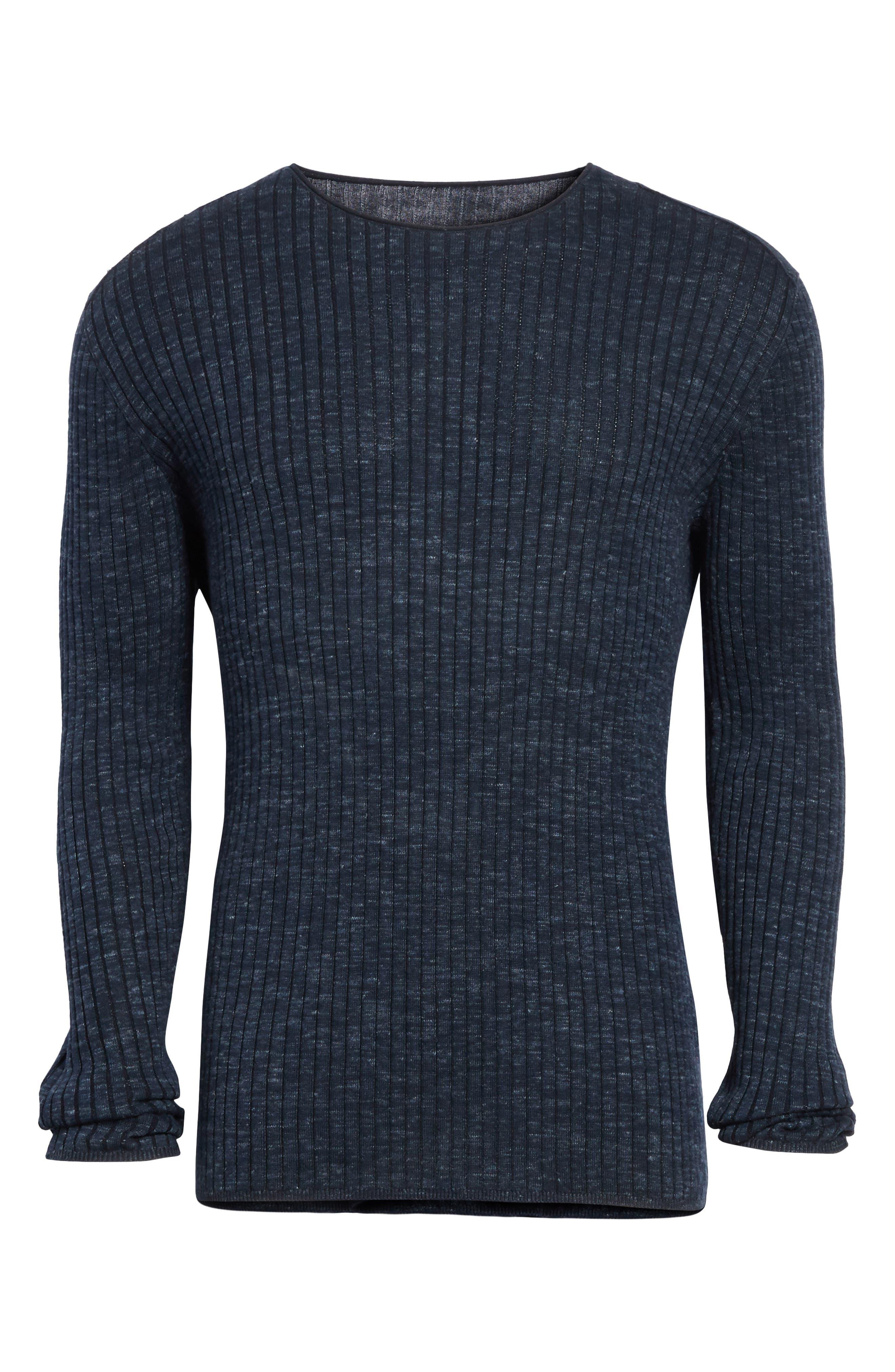 Alternate Image 6  - John Varvatos Collection Mélange Stripe Sweater
