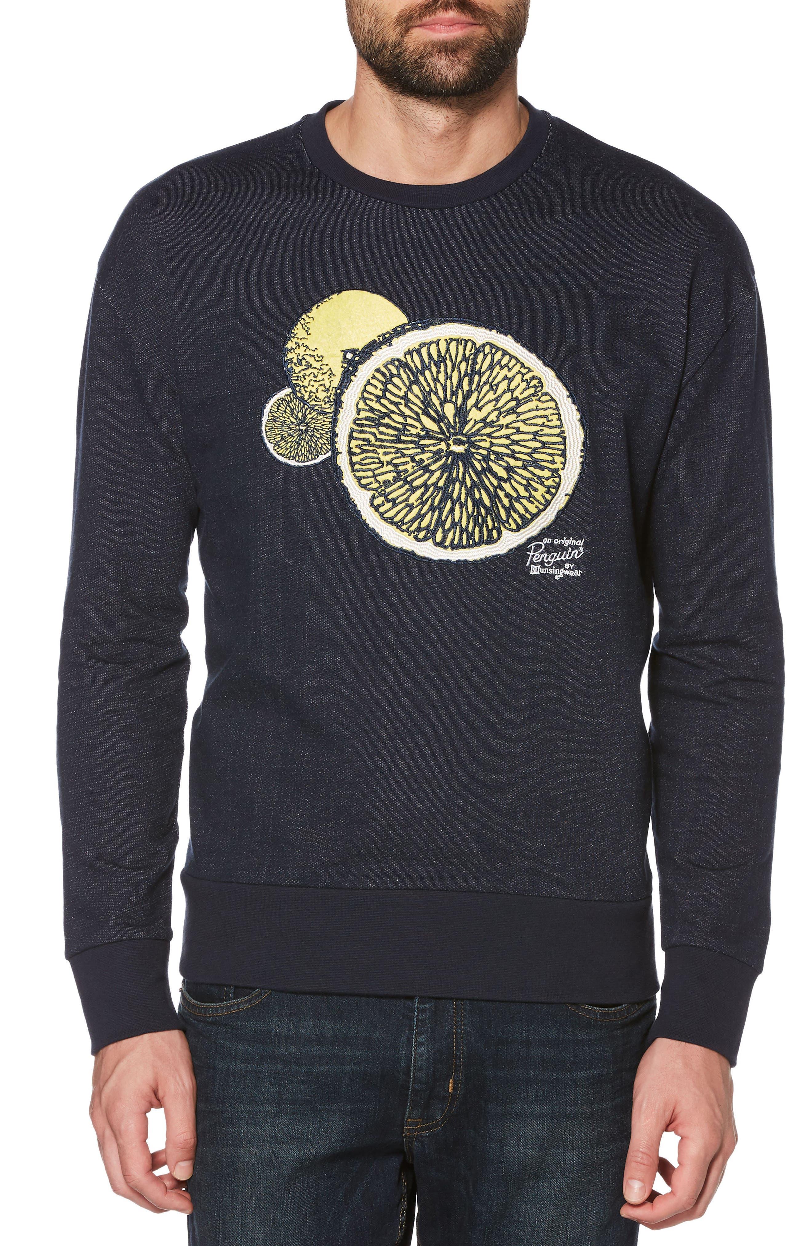 Lemon Crewneck Sweatshirt,                         Main,                         color, Dark Sapphire