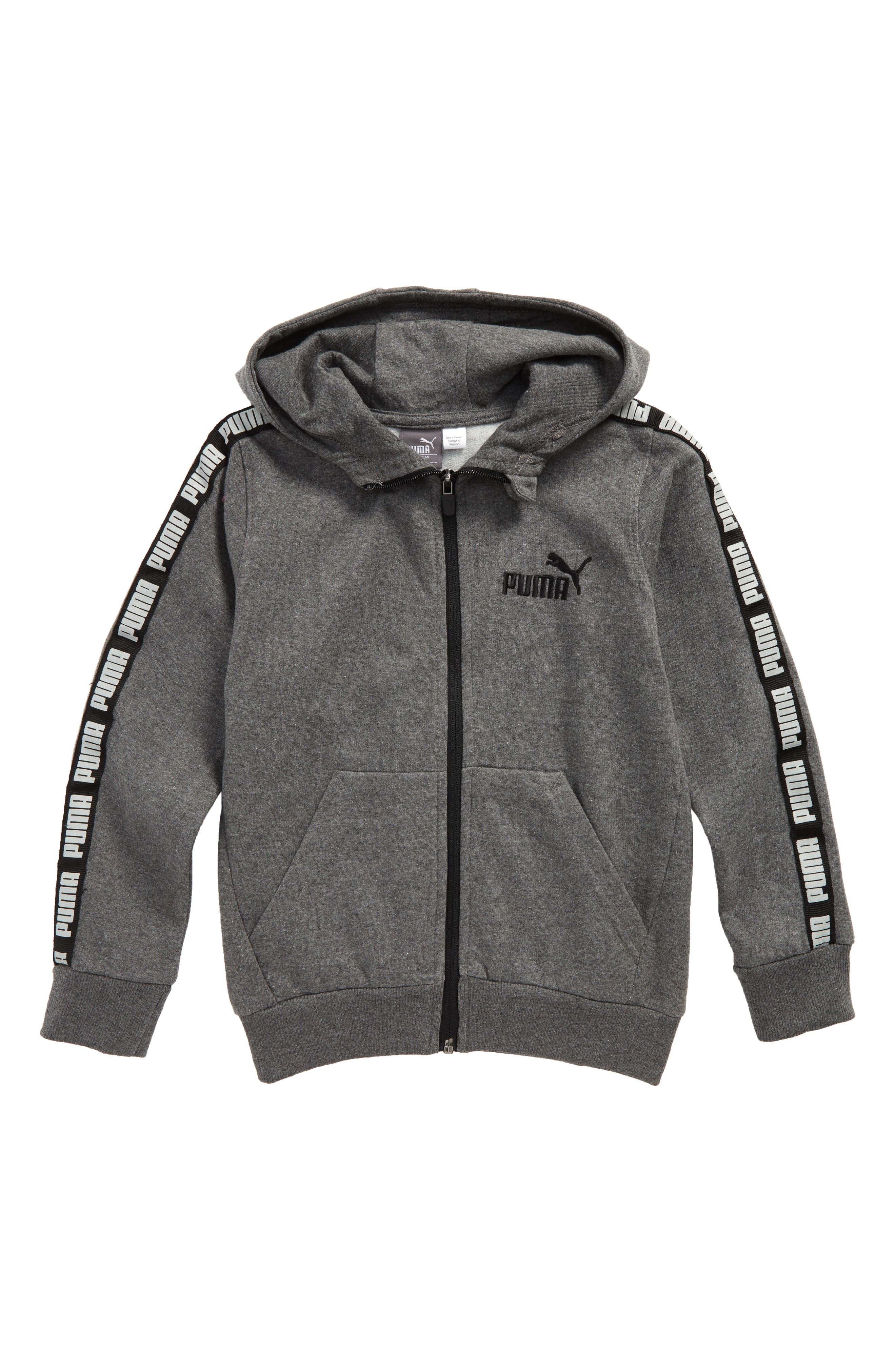PUMA Logo Tape Zip Hoodie (Little Boys)
