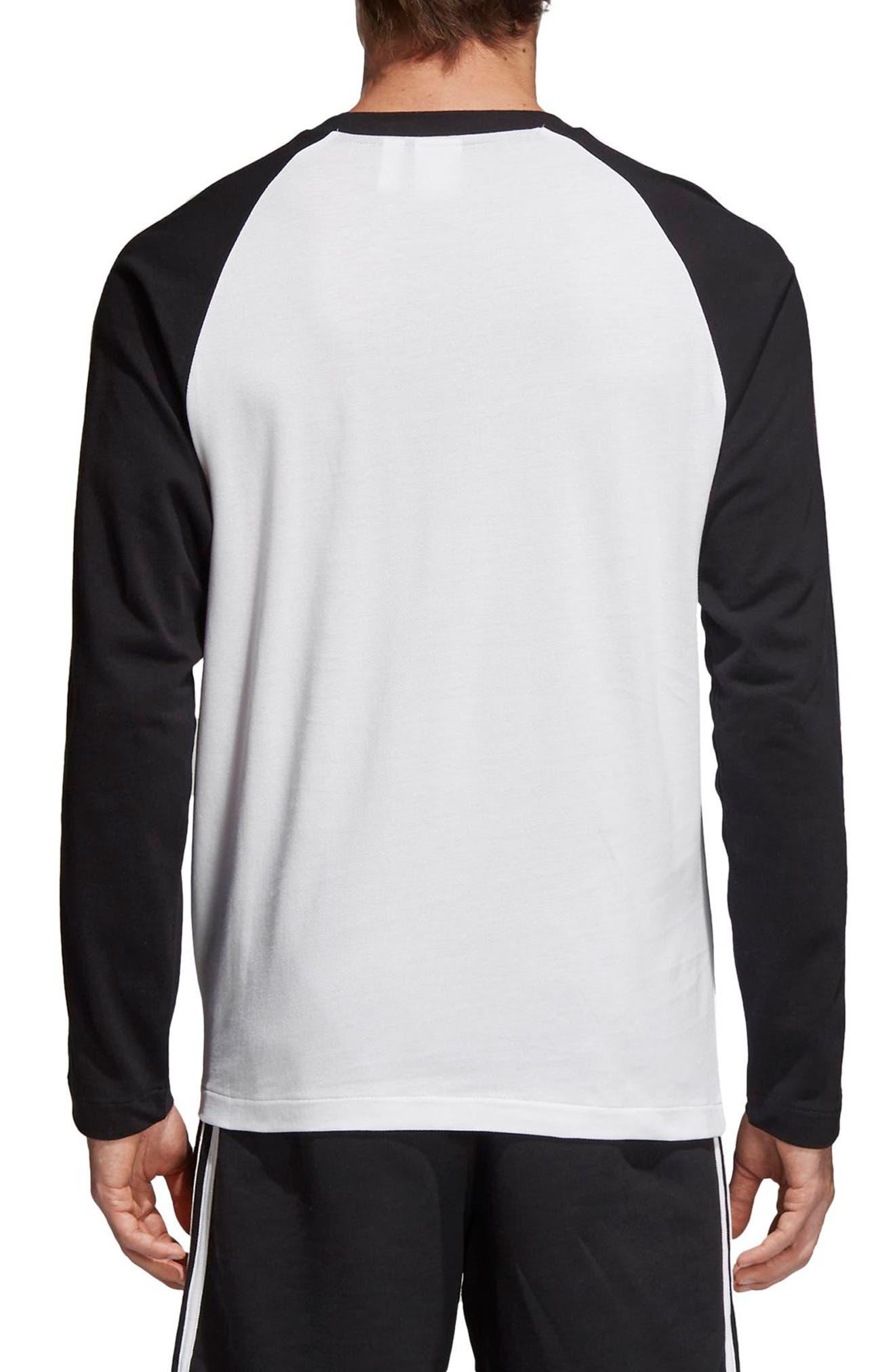 3-Stripes Long Sleeve T-Shirt,                             Alternate thumbnail 2, color,                             Black
