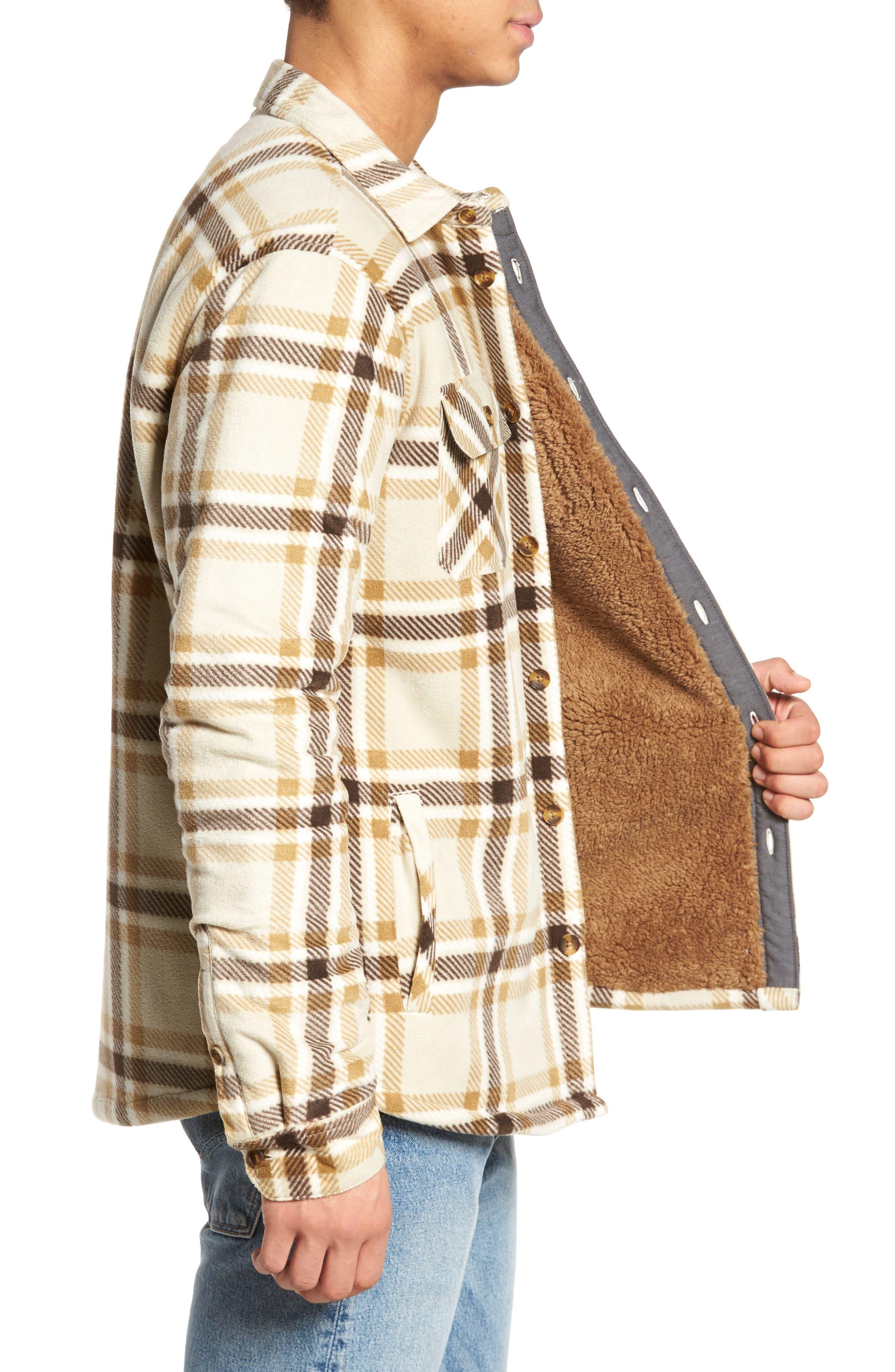Glacier Heat Dome Plaid Fleece Shirt,                             Alternate thumbnail 3, color,                             Stone