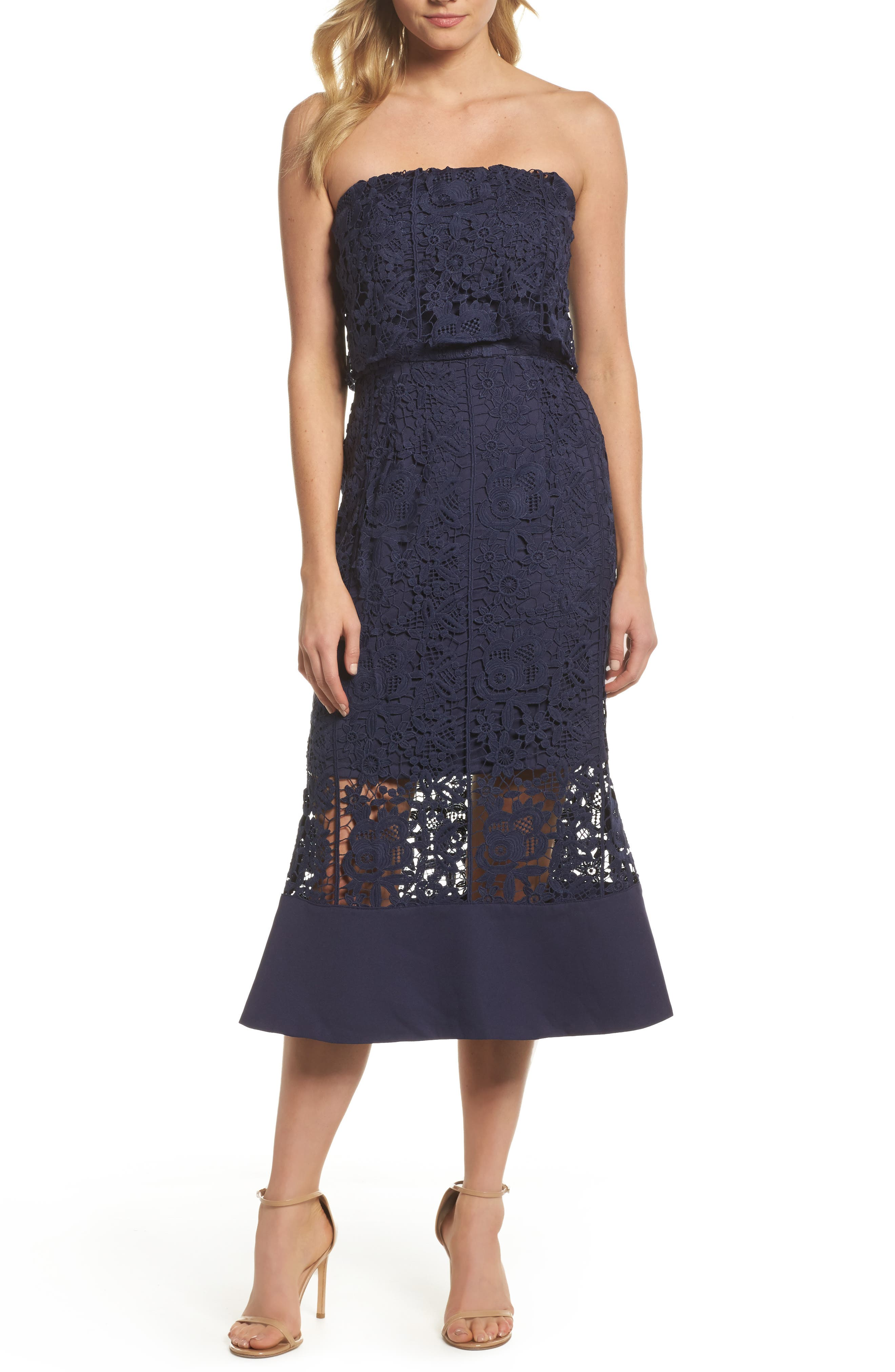 Xenia Strapless Lace Midi Dress,                         Main,                         color, Navy