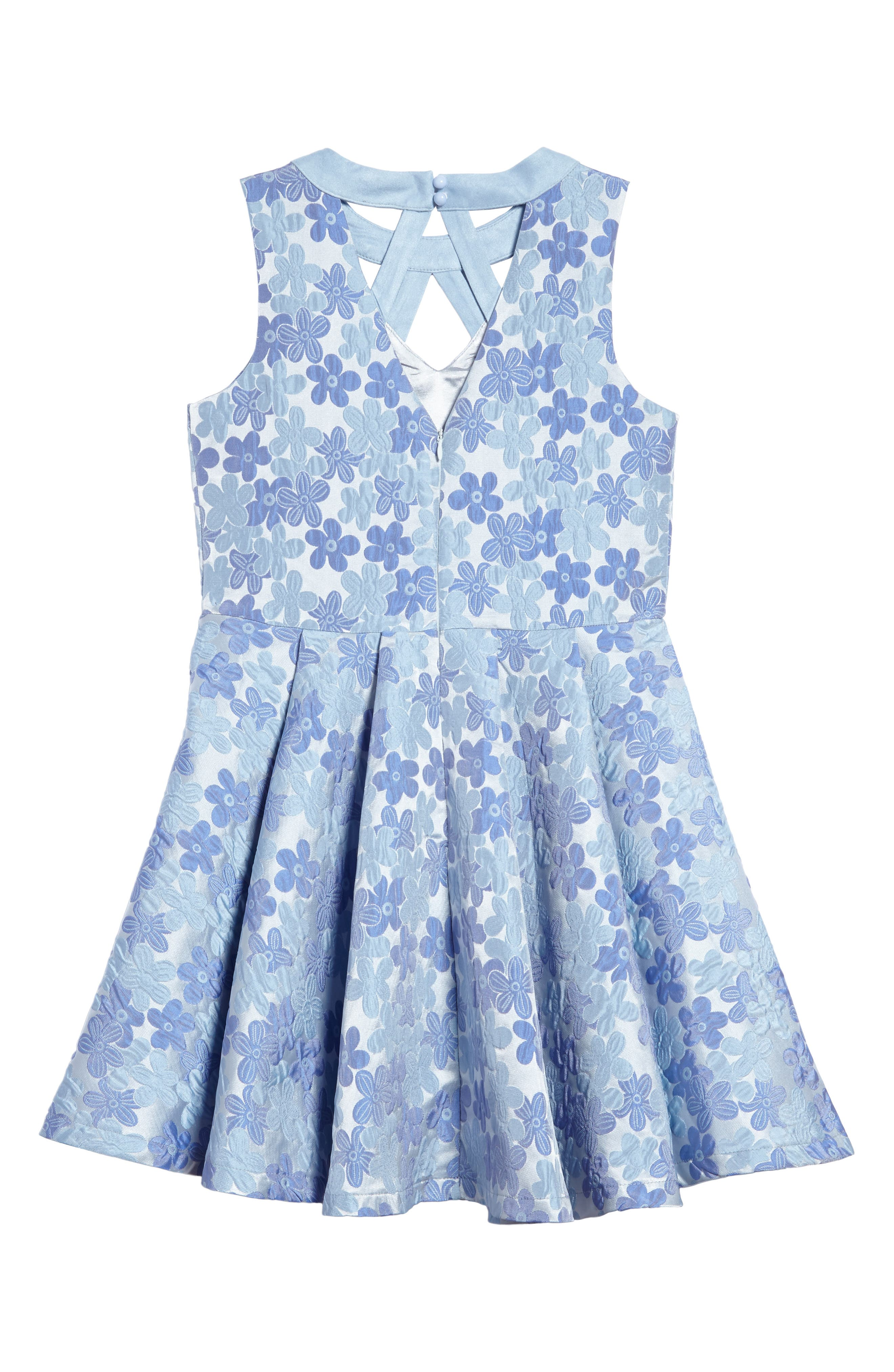 Daisy Brocade Fit & Flare Dress,                             Alternate thumbnail 2, color,                             Periwinkle