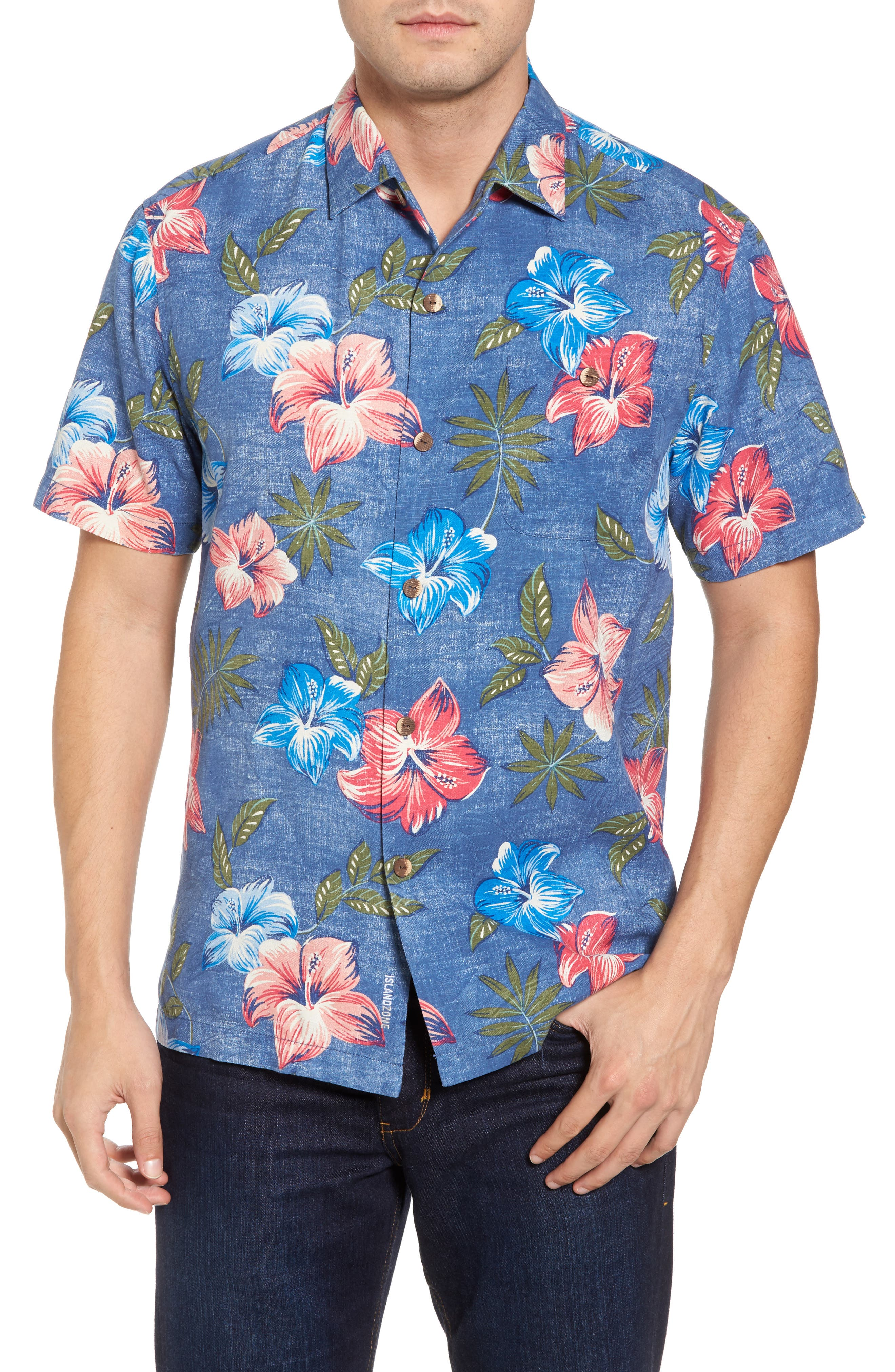 Hibiscus in the Mist Floral Silk Blend Sport Shirt,                             Main thumbnail 1, color,                             Dockside Blue