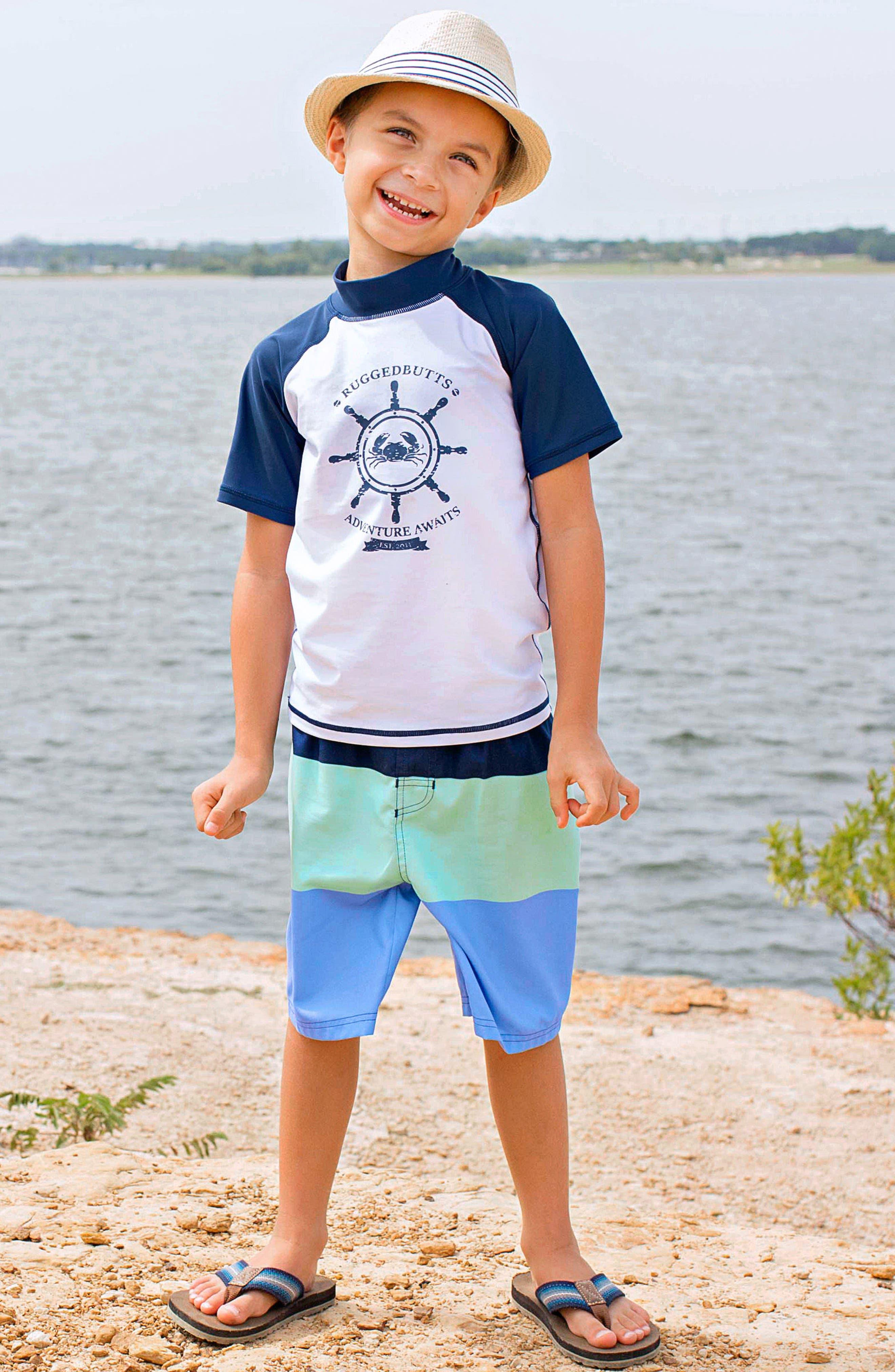 Alternate Image 2  - RuggedButts Adventure Awaits Rashguard & Board Shorts Set (Toddler Boys & Little Boys)