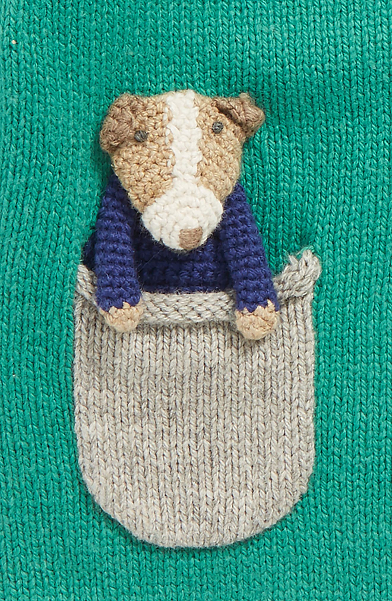 Alternate Image 2  - Mini Boden Pocket Pet Cardigan (Baby Boys & Toddler Boys)