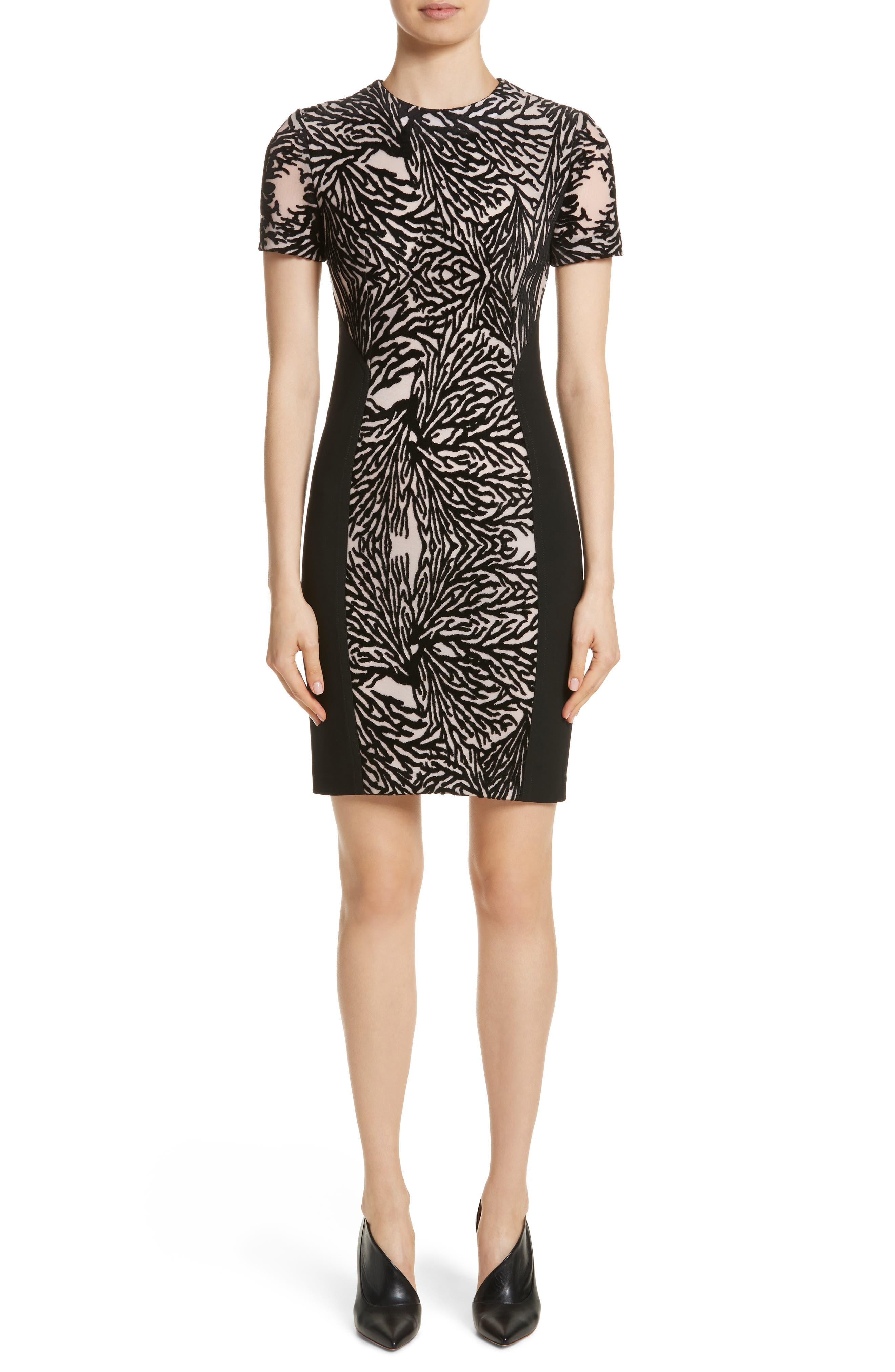 Burnout Coral Sheath Dress,                         Main,                         color, Jet Multi