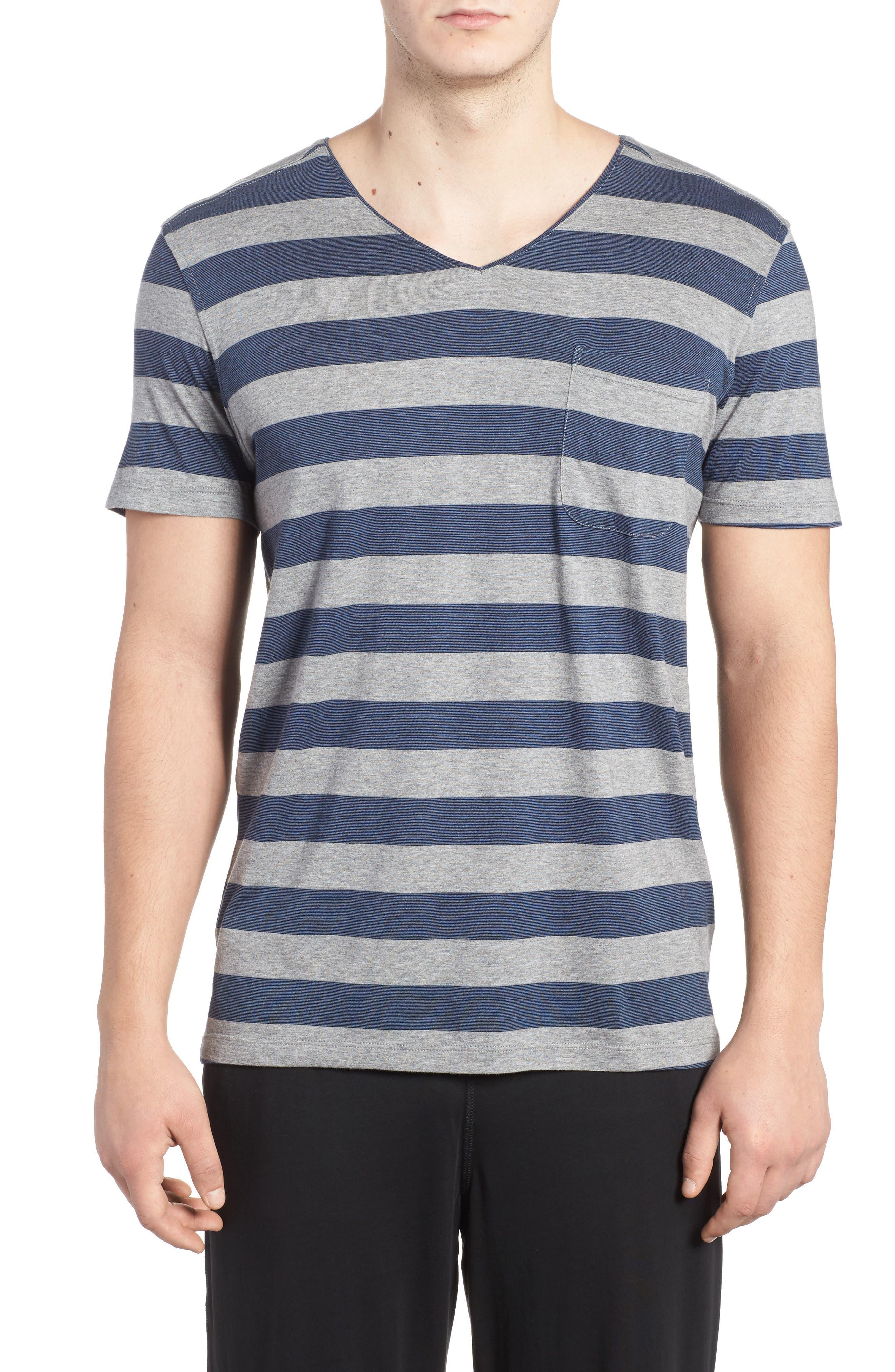 Stripe Pima Cotton & Modal V-Neck T-Shirt,                         Main,                         color, Grey/ Blue