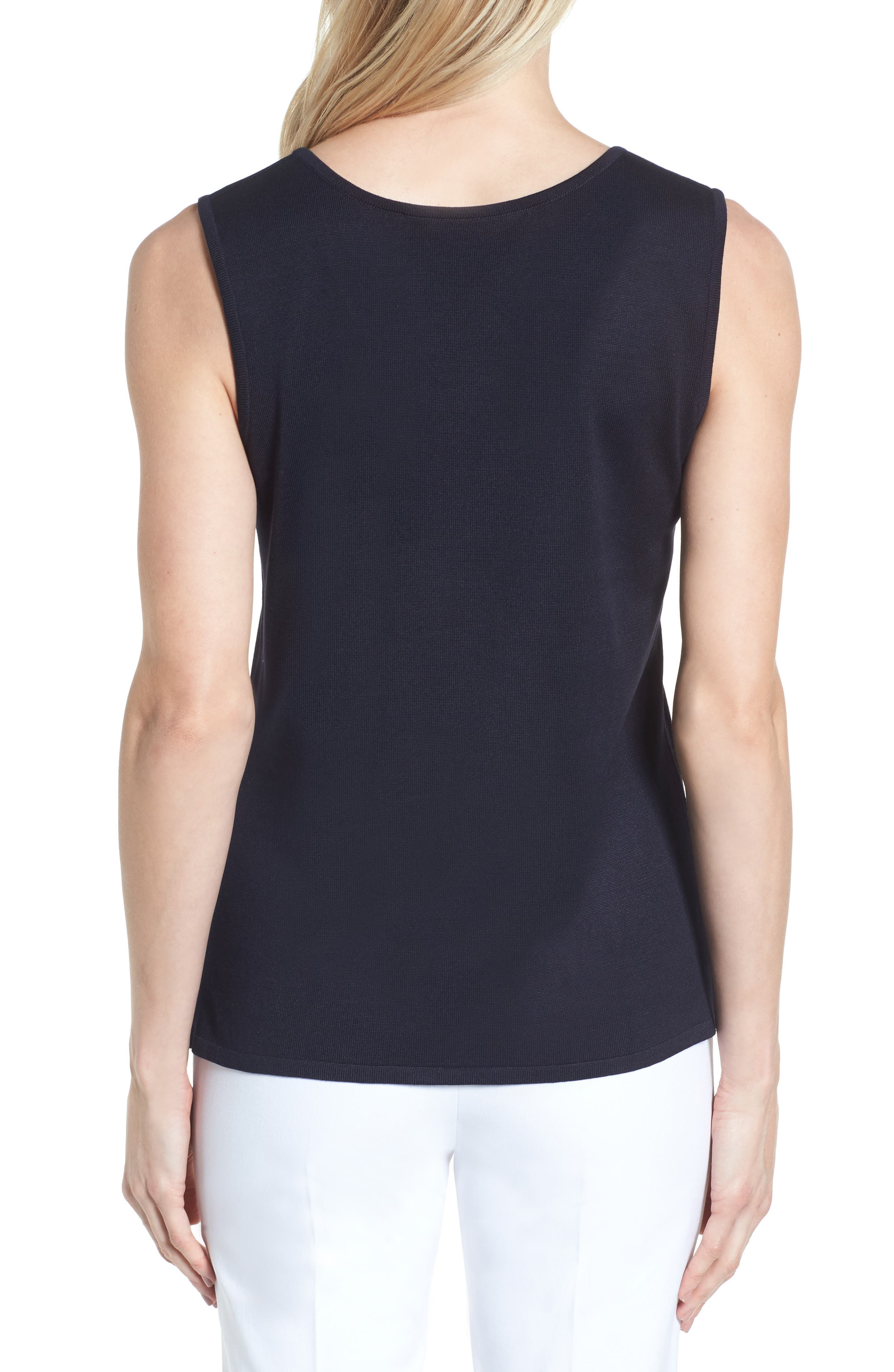Long Knit Tank,                             Alternate thumbnail 2, color,                             Navy