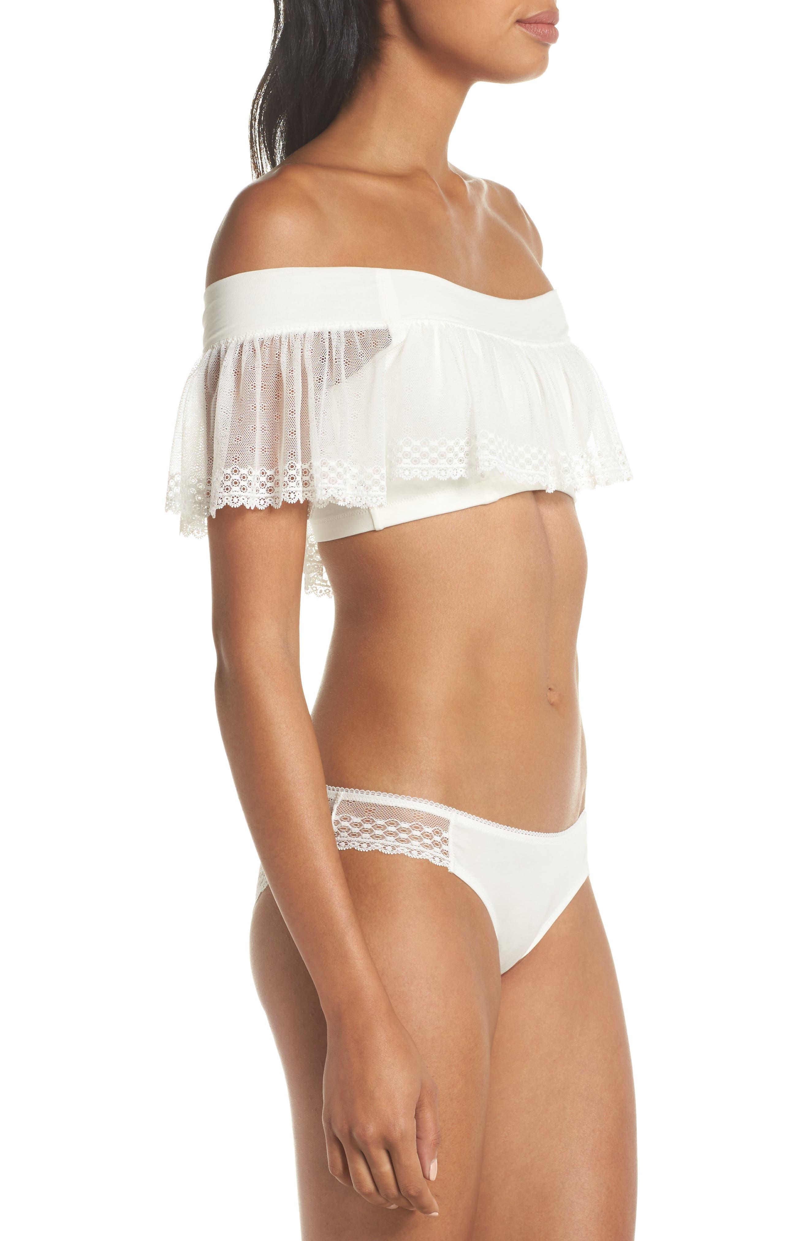 Organic Pima Cotton Blend Lace Bikini,                             Alternate thumbnail 7, color,                             White