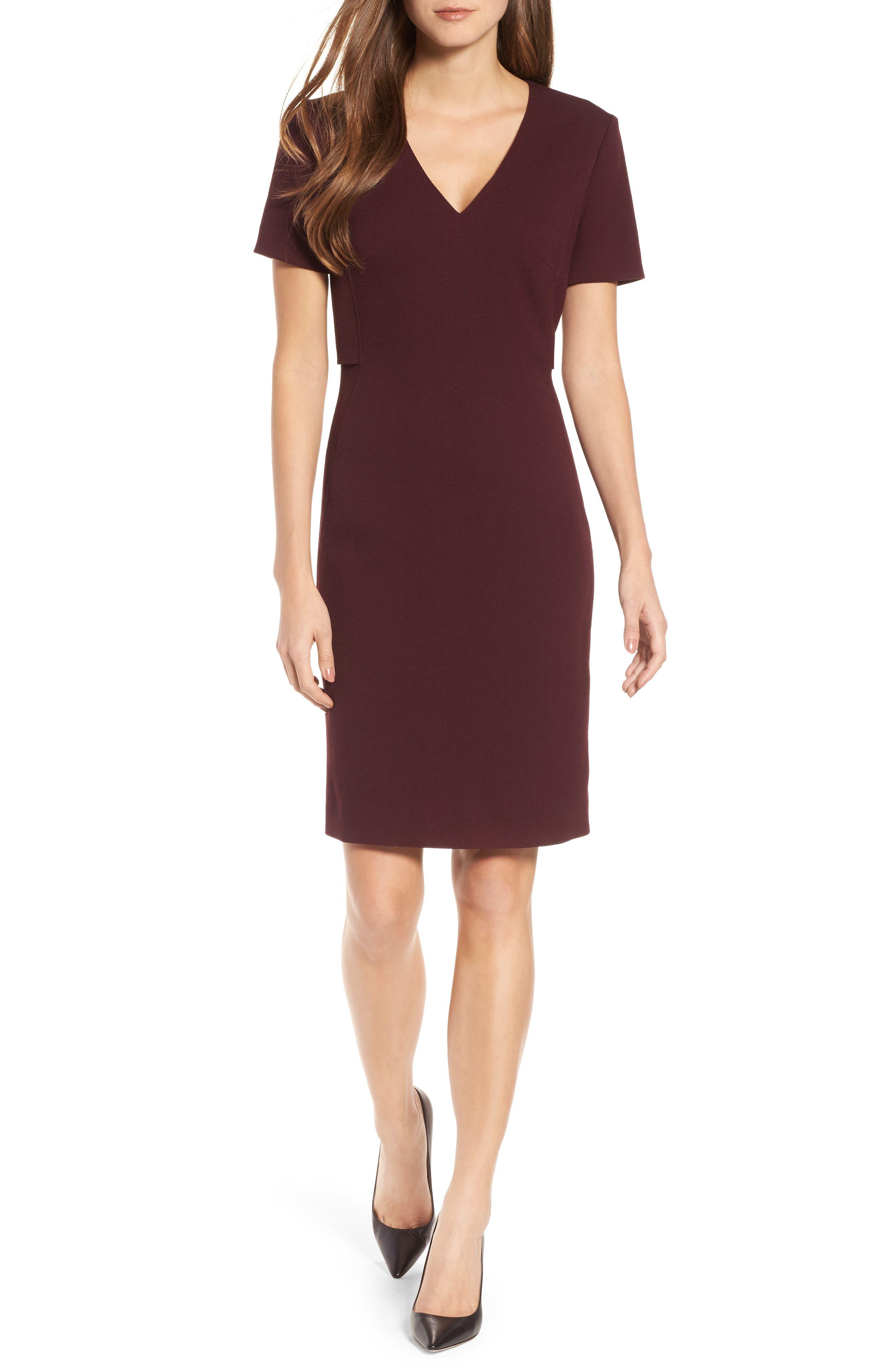 Domandia Stretch Wool Sheath Dress,                             Main thumbnail 1, color,                             Mulberry