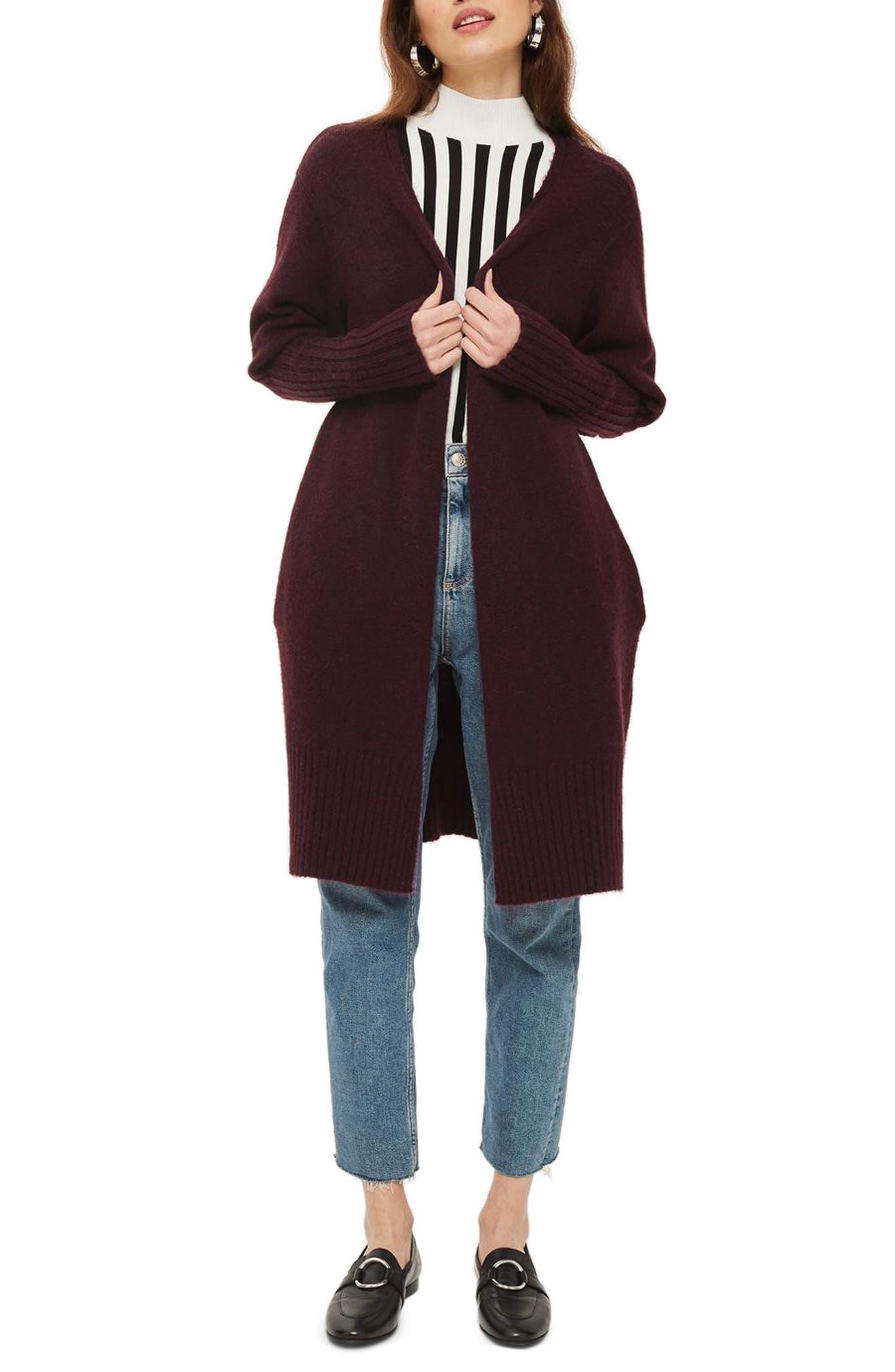 Puff Sleeve Longline Cardigan,                         Main,                         color, Purple