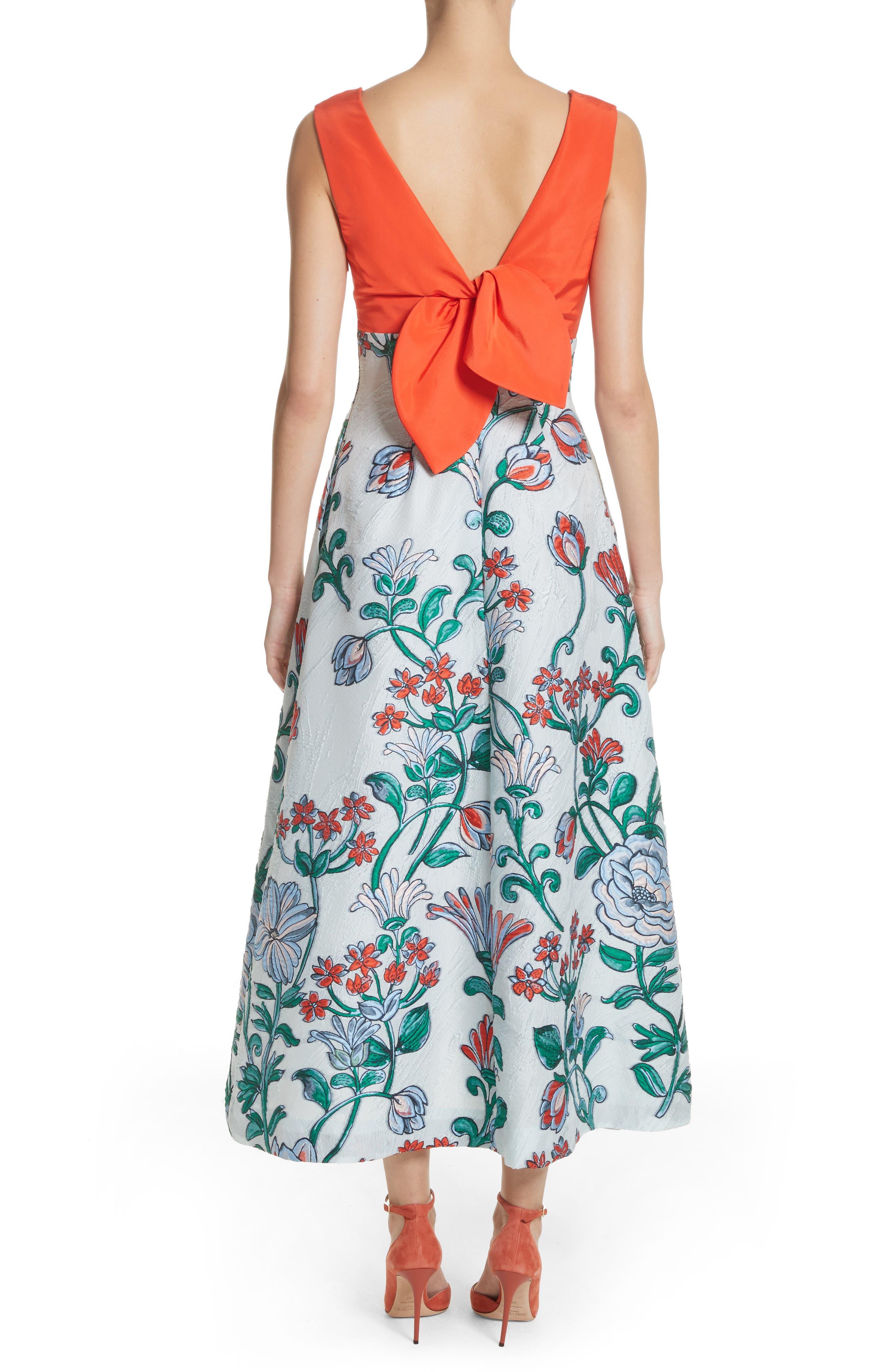 Alternate Image 2  - Lela Rose Tie Back Midi Dress