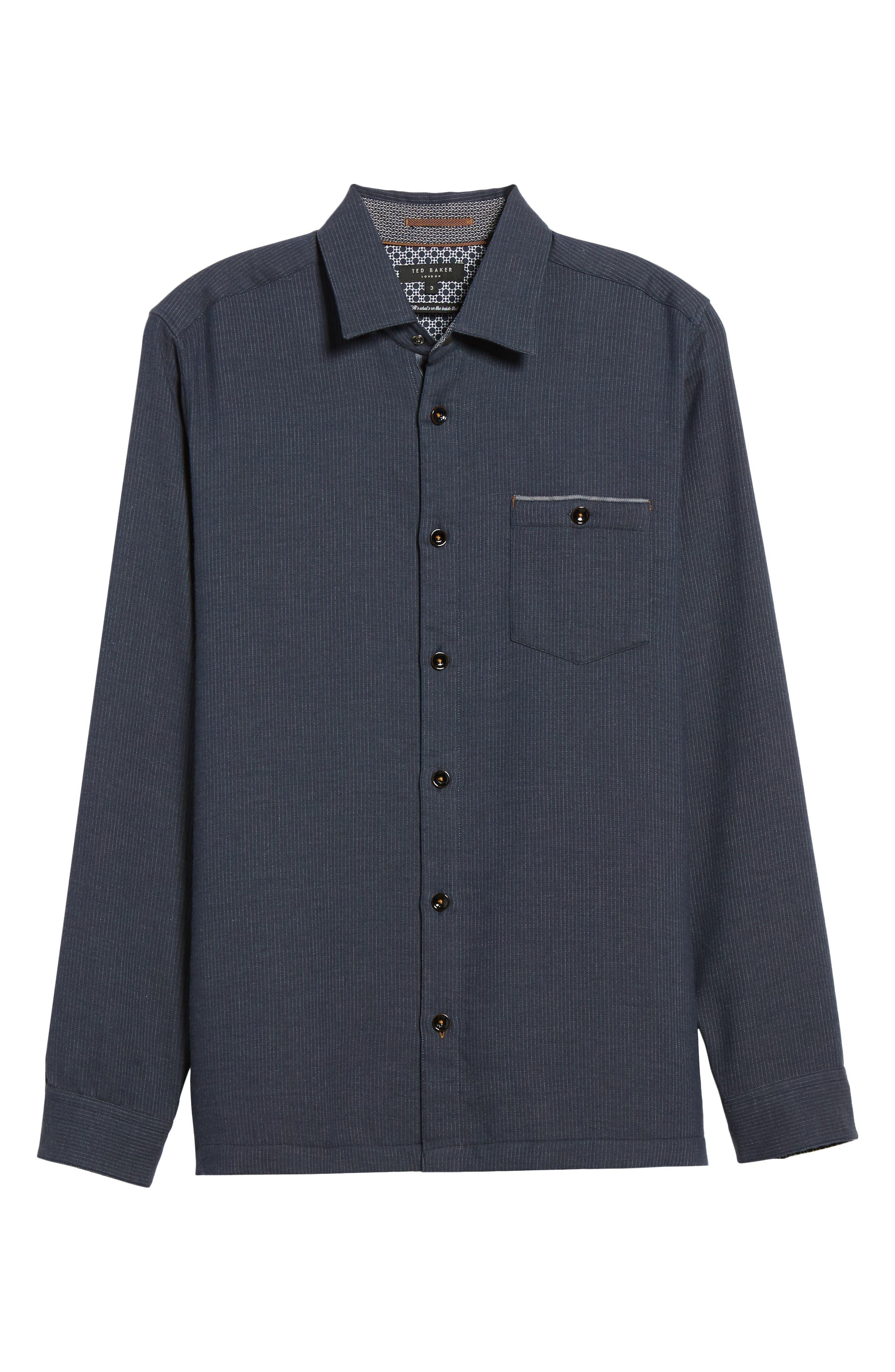 Slim Fit Stripe Workwear Shirt,                             Alternate thumbnail 6, color,                             Navy